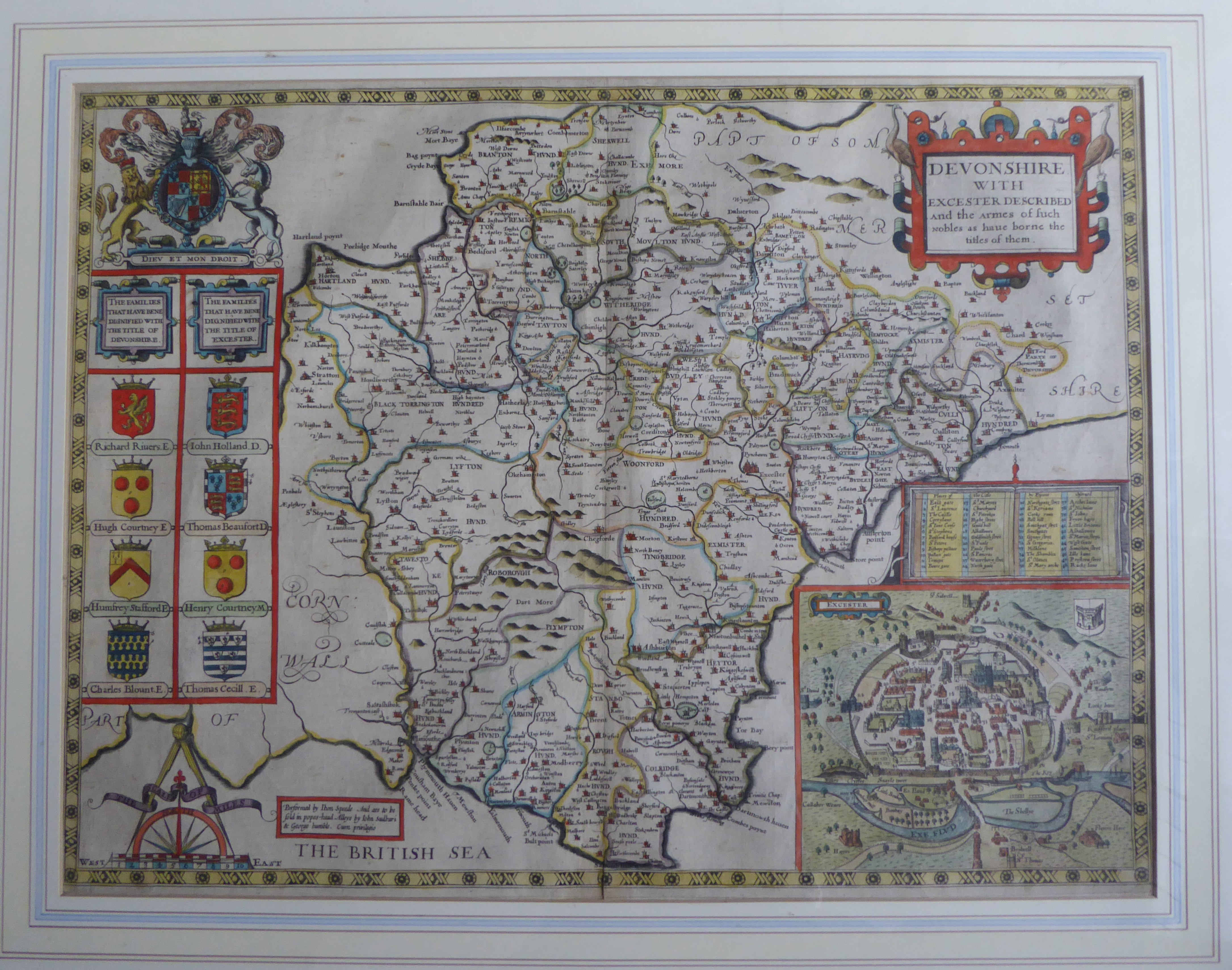 Lot 39 - A C17th hand coloured copper engraved map of Devonshire C1627 by John Speed