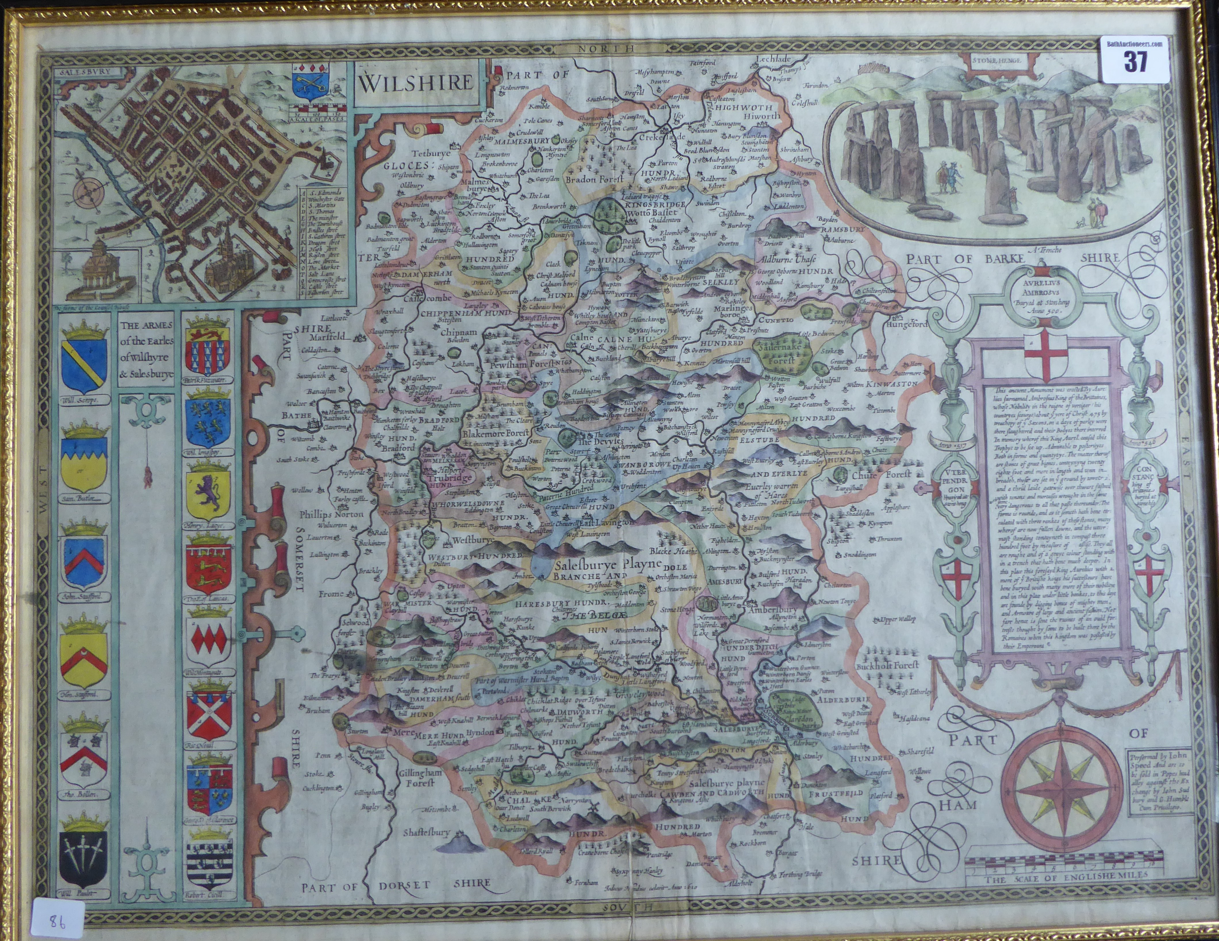 Lot 37 - A C17th hand coloured copper engraved map of Wiltshire 1st Edition 1612 by John Speed
