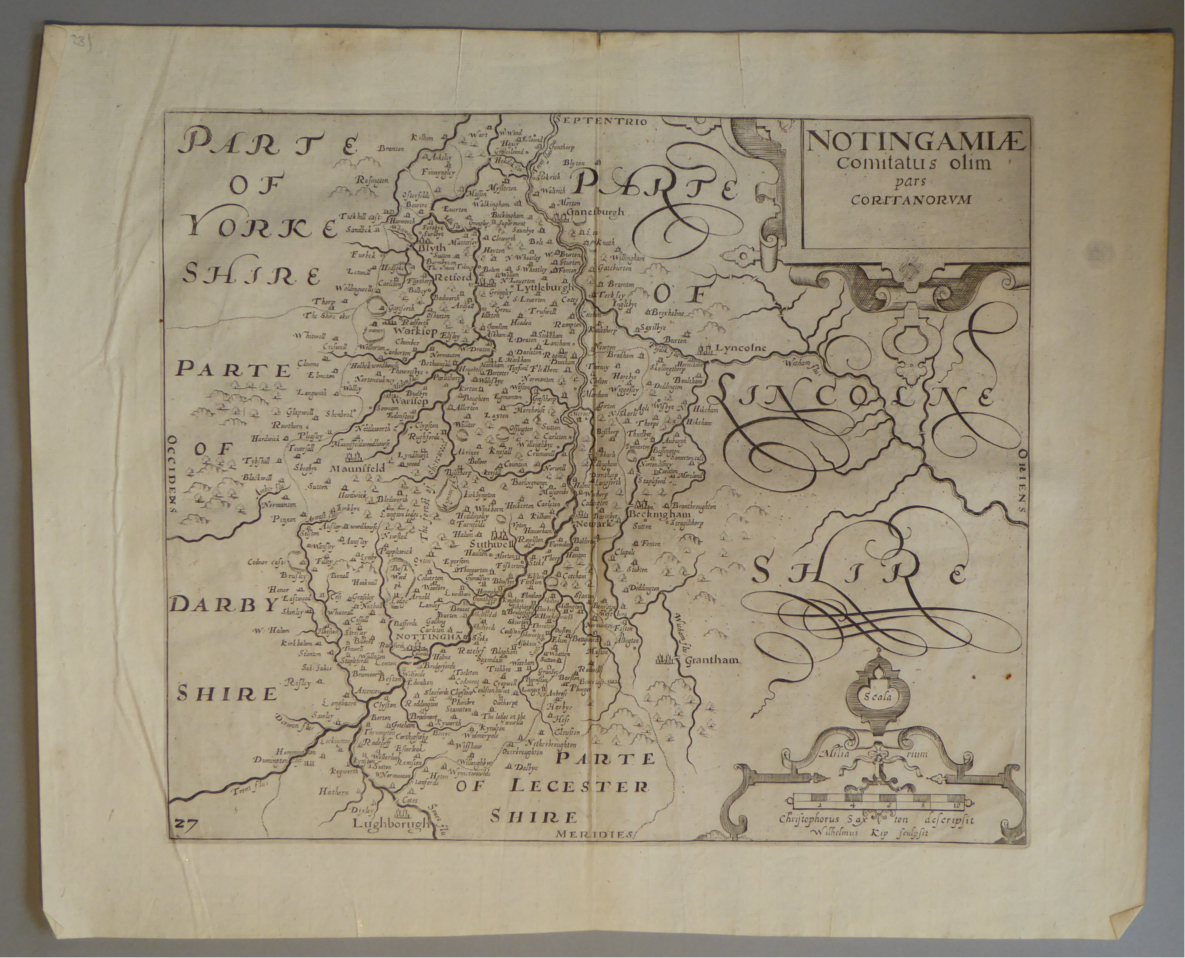Lot 9 - A C17th Black & White copper engraved map of Nottinghamshire by William Kip c1637
