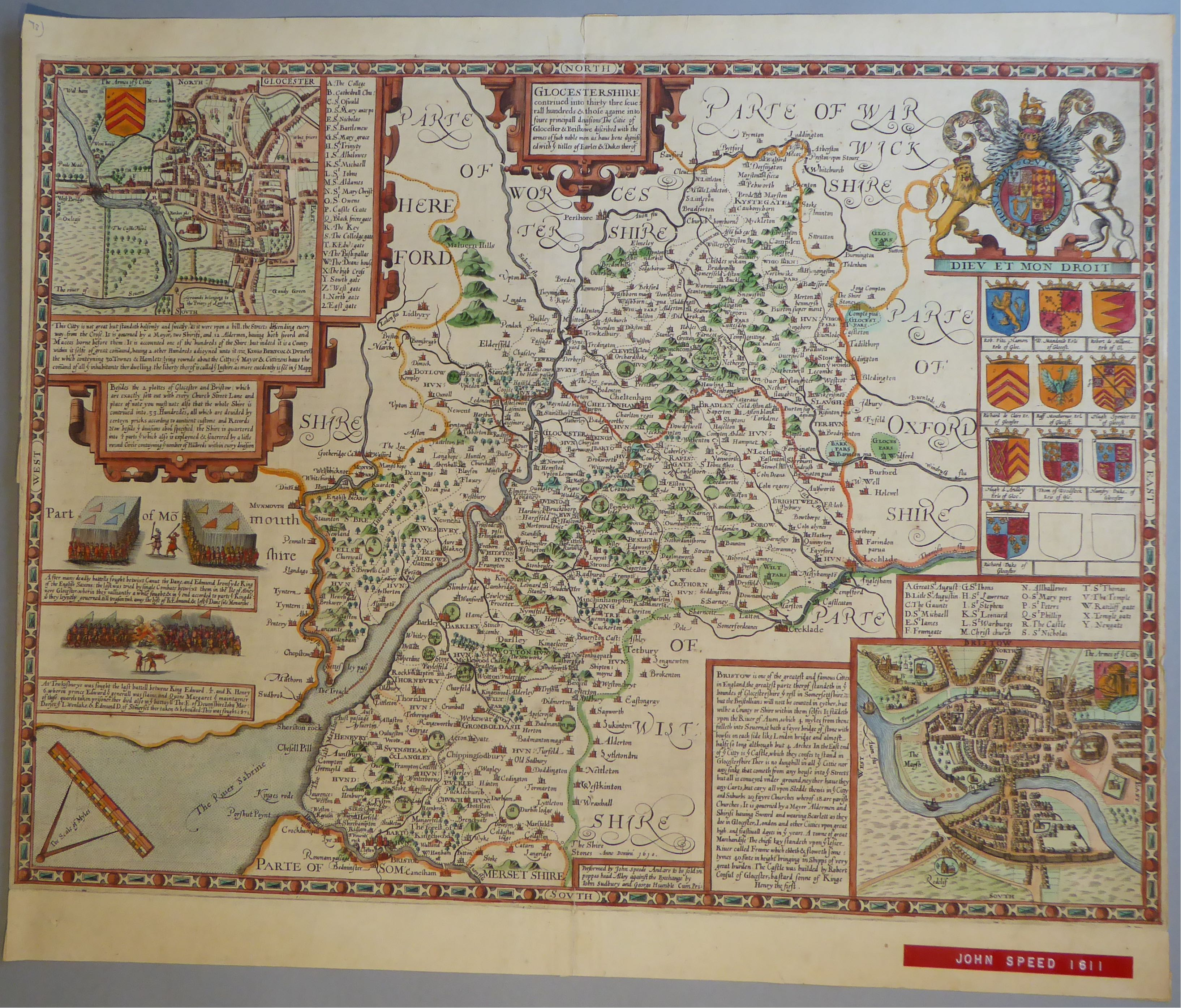 Lot 28 - A C17th hand coloured copper engraved map of Gloucestershire by John Speed, c1612