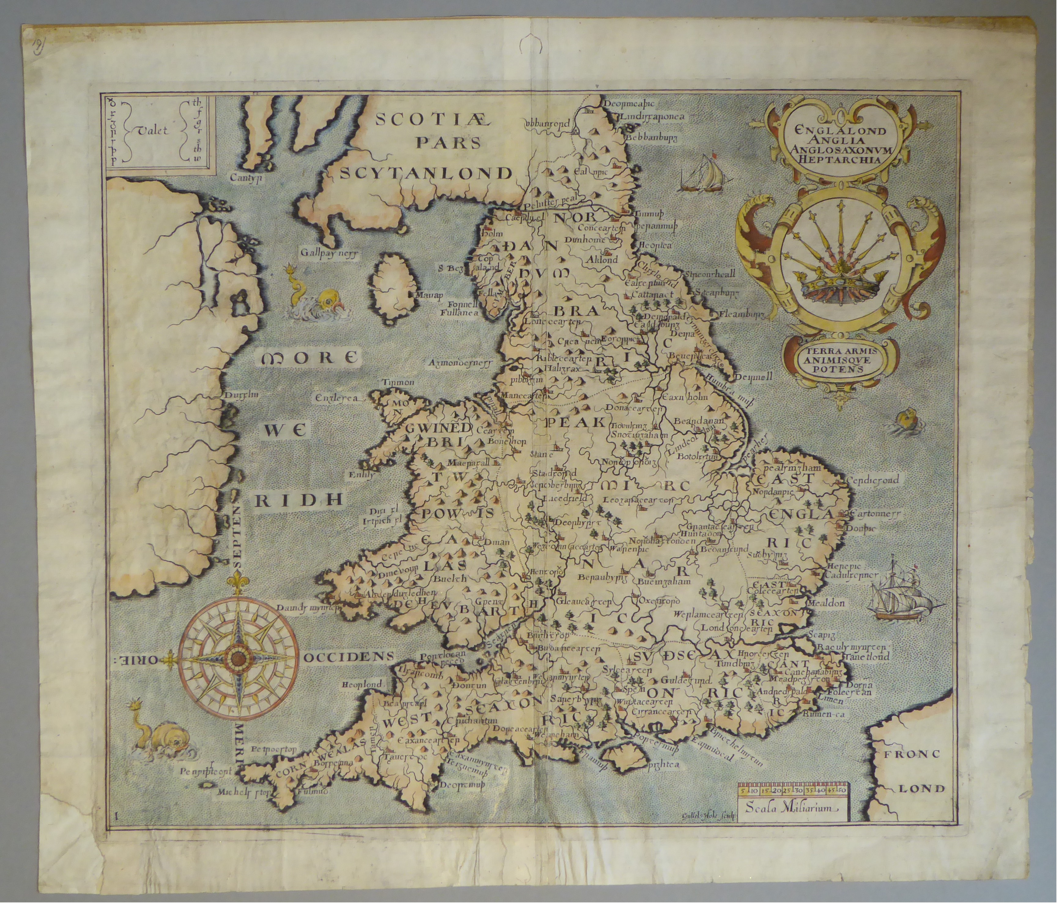 Lot 48 - A C17th hand coloured copper engraved map of England & Wales by William Hole c1637