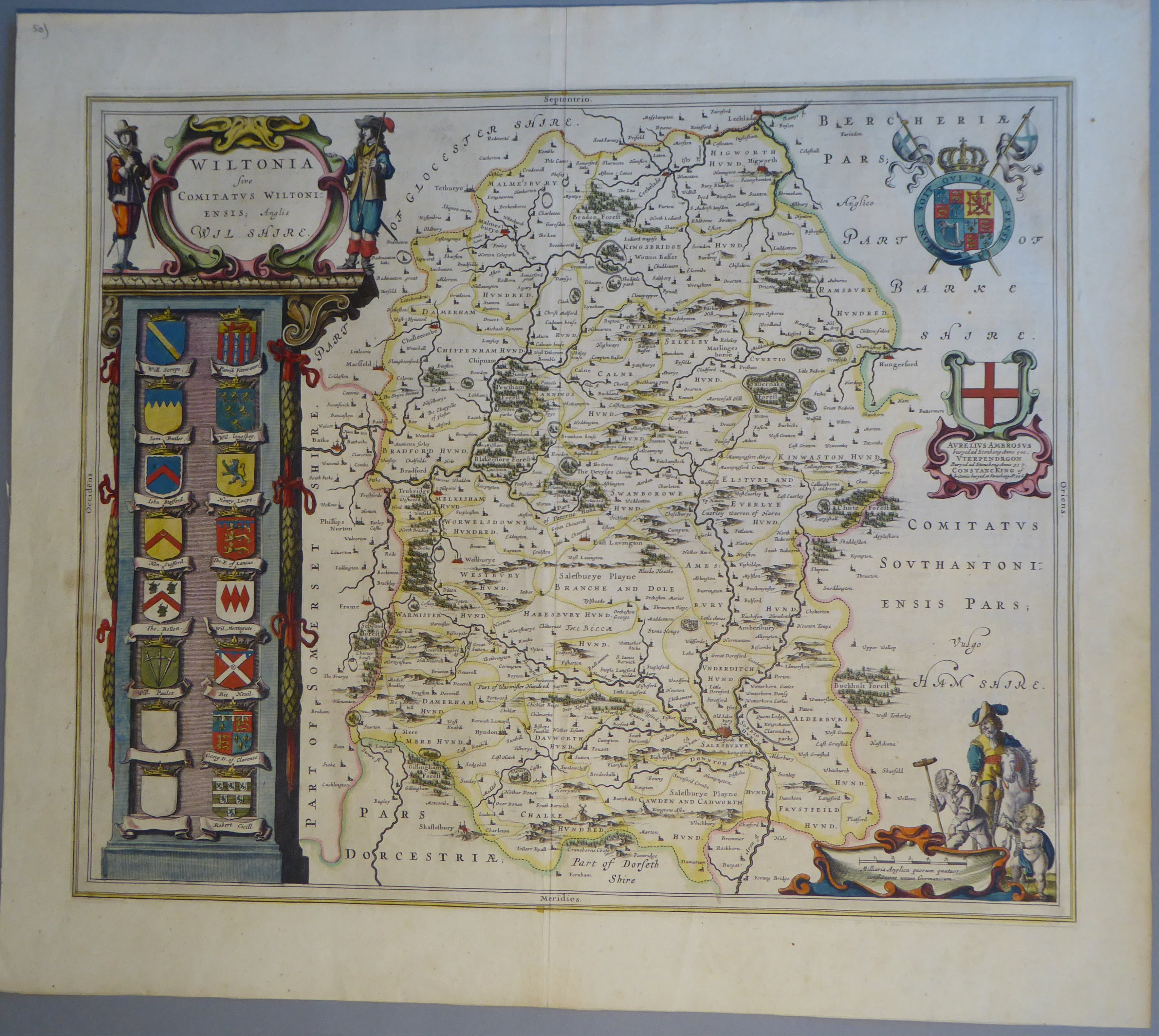 Lot 56 - A C17th hand coloured copper engraved map of Wiltshire by William Blaeu, c1645