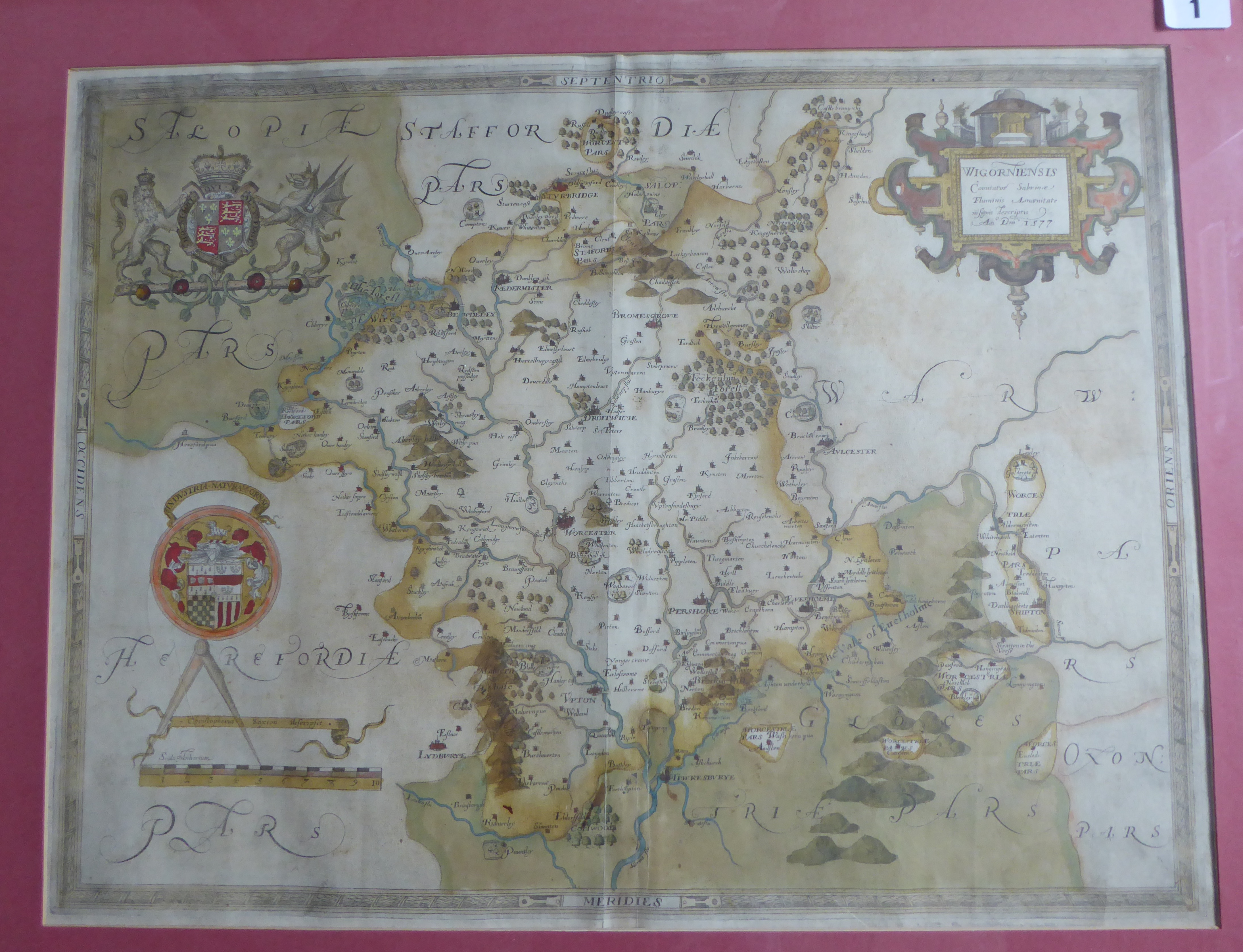 Lot 1 - A C16th hand coloured copper engraved map of Worcestershire C1579 by Christopher Saxton
