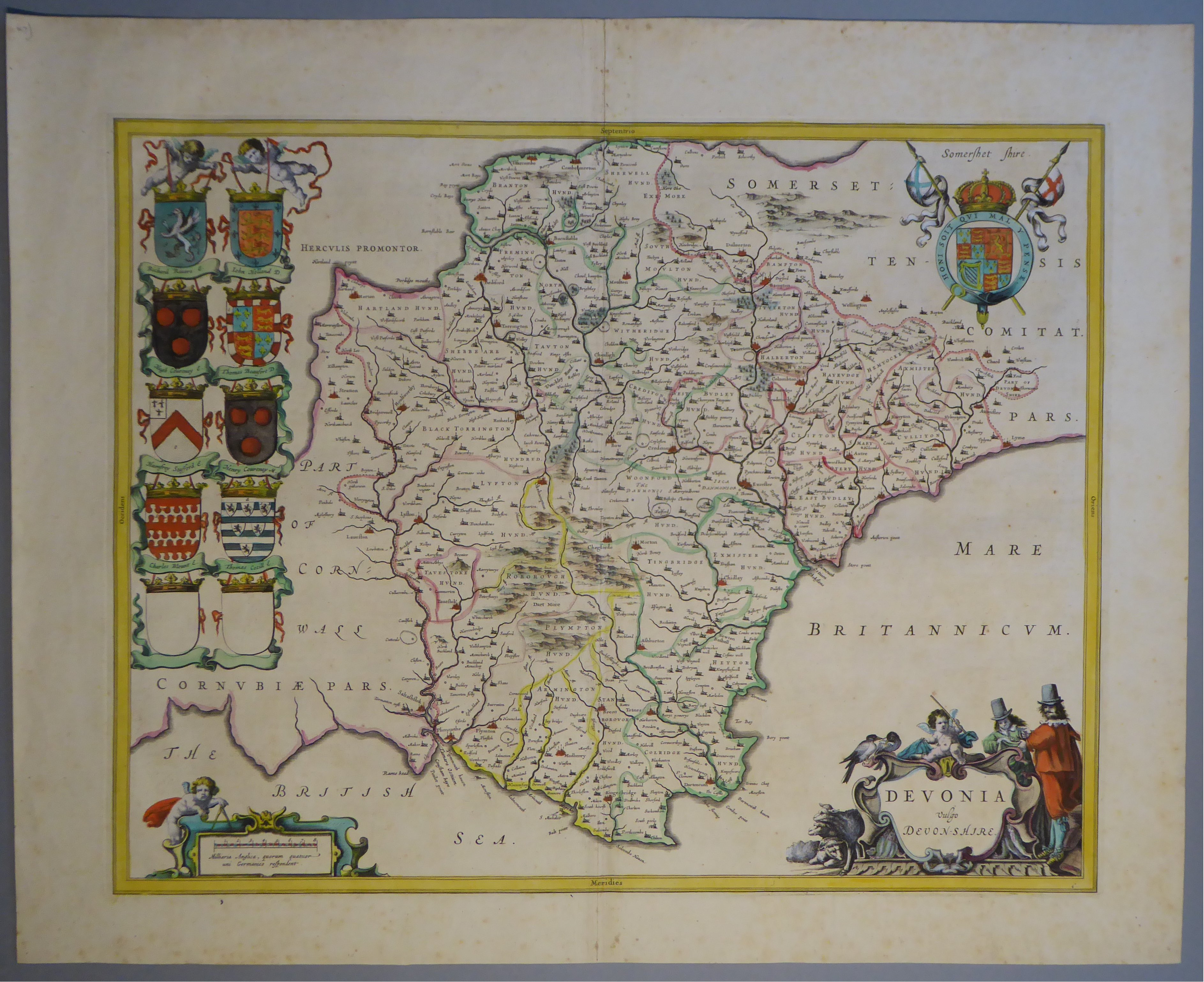 Lot 53 - A C17th hand coloured copper engraved map of Devonshire by William Blaeu, c1645
