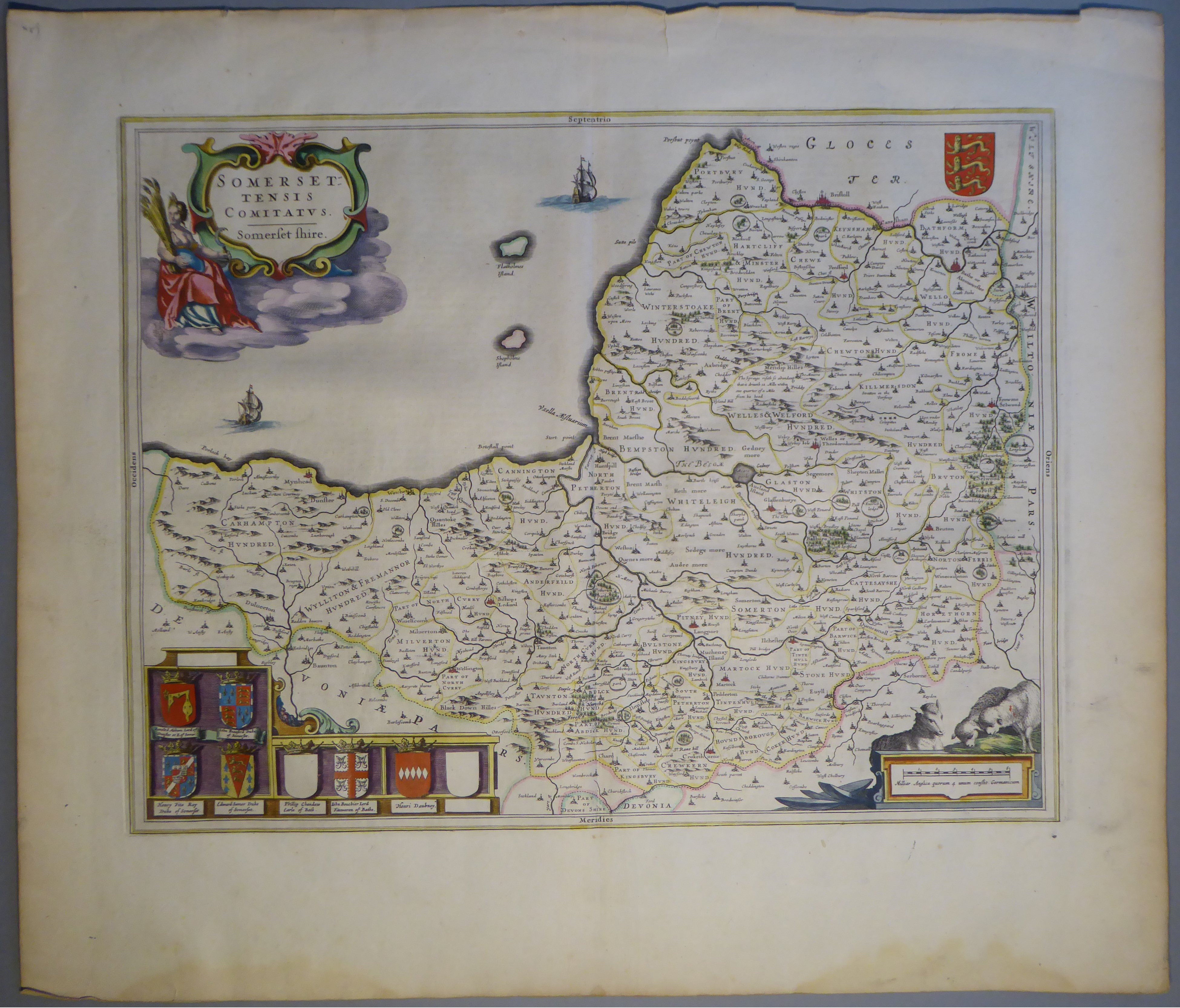 Lot 54 - A C17th hand coloured copper engraved map of Somersetshire by William Blaeu, c1645