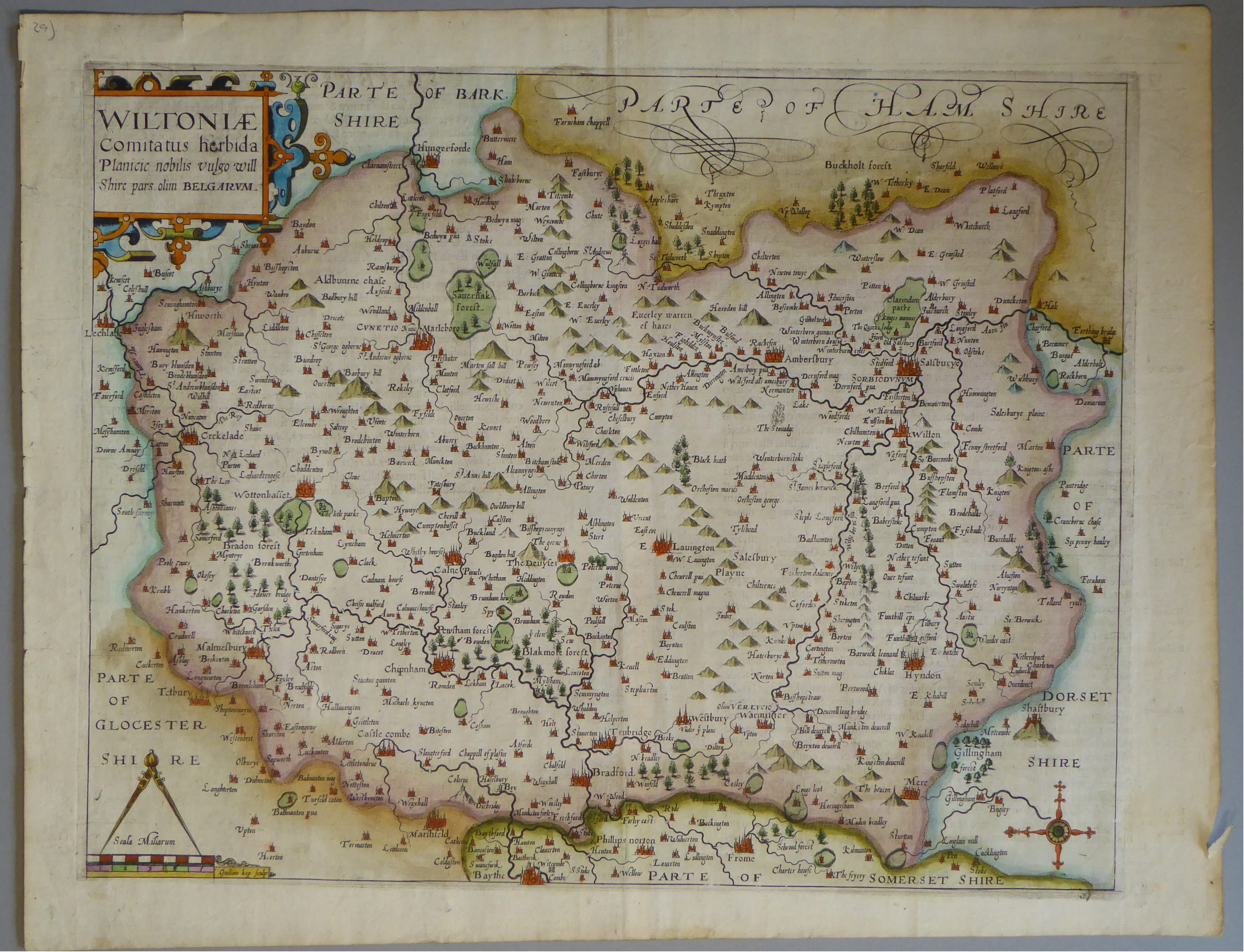 Lot 15 - A C17th hand coloured copper engraved map of Wiltshire by William Kip c1607