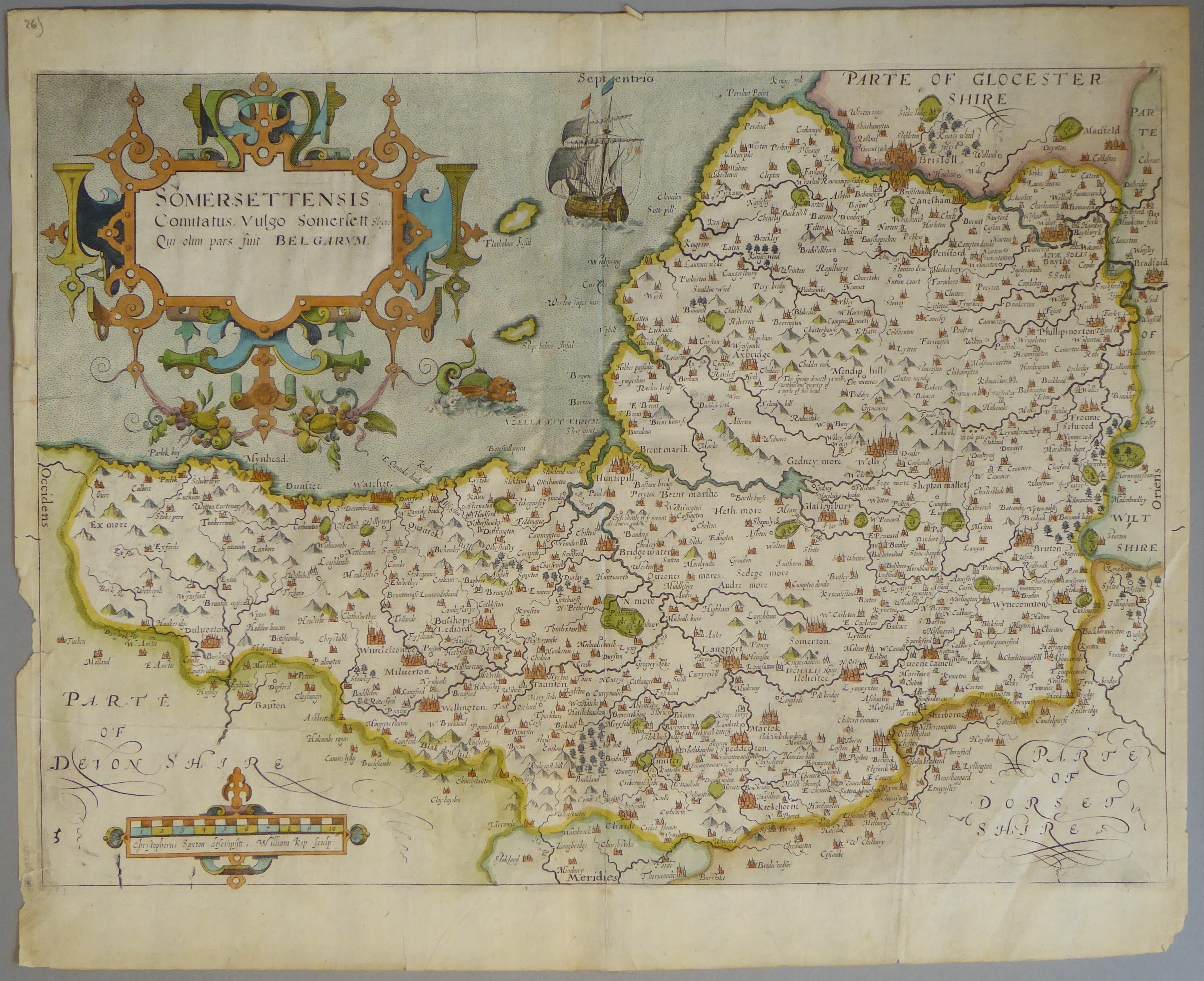 Lot 12 - A C17th hand coloured copper engraved map of Somersetshire by William Kip c1637