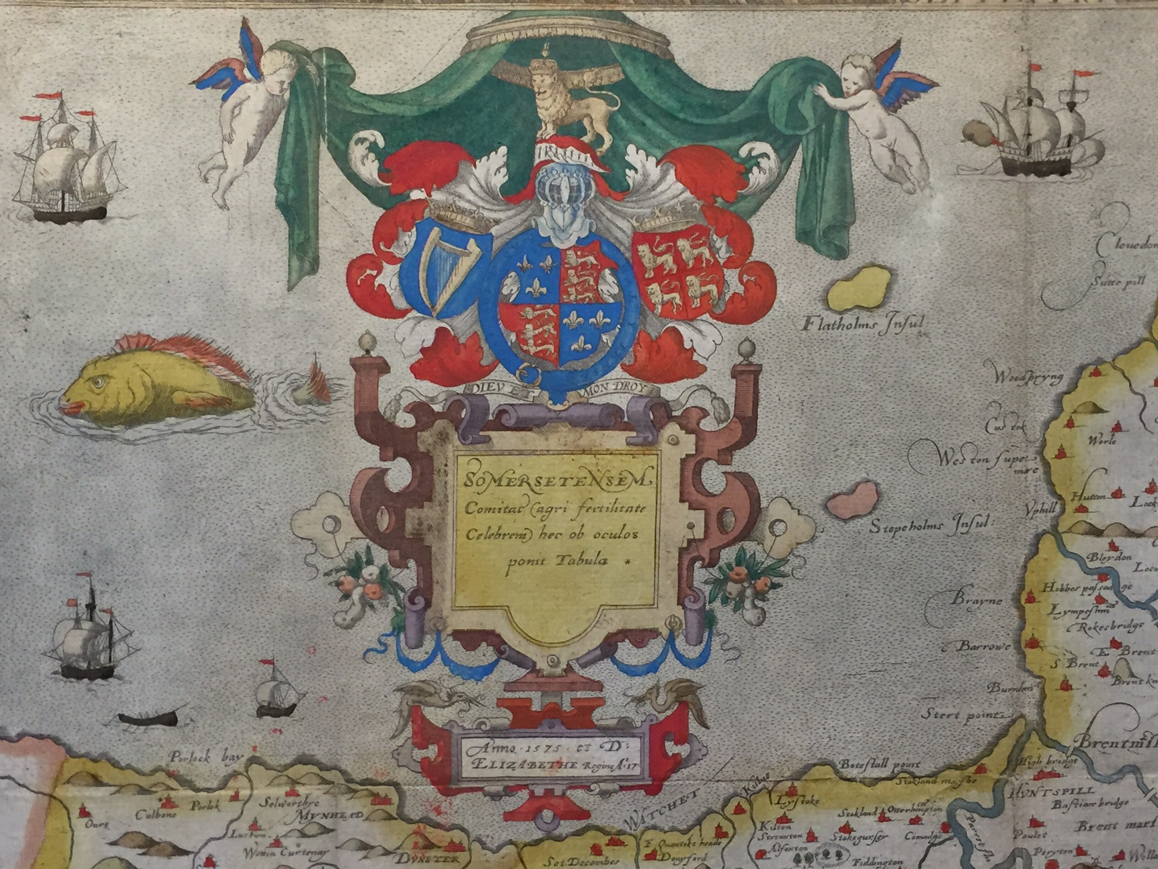 Lot 5 - A C16th hand coloured copper engraved map of Somersetshire C1579 by Christopher Saxton