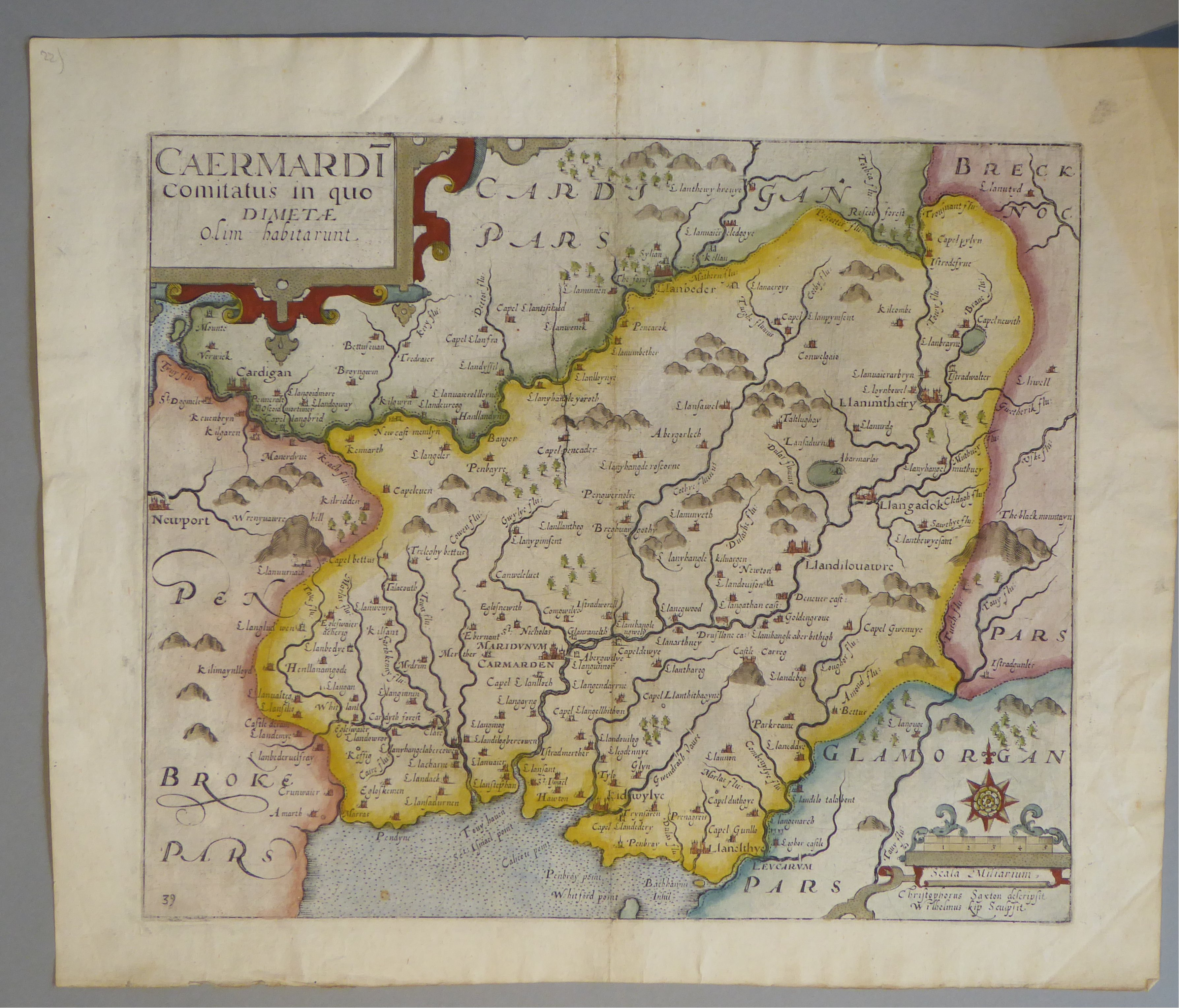 Lot 8 - A C17th hand coloured copper engraved map of Carmarthenshire by William Kip c1637