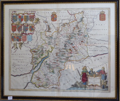 Lot 59 - A C17th hand coloured copper engraved map of Gloucestershire 1645 edition by William Jousz Blaeu