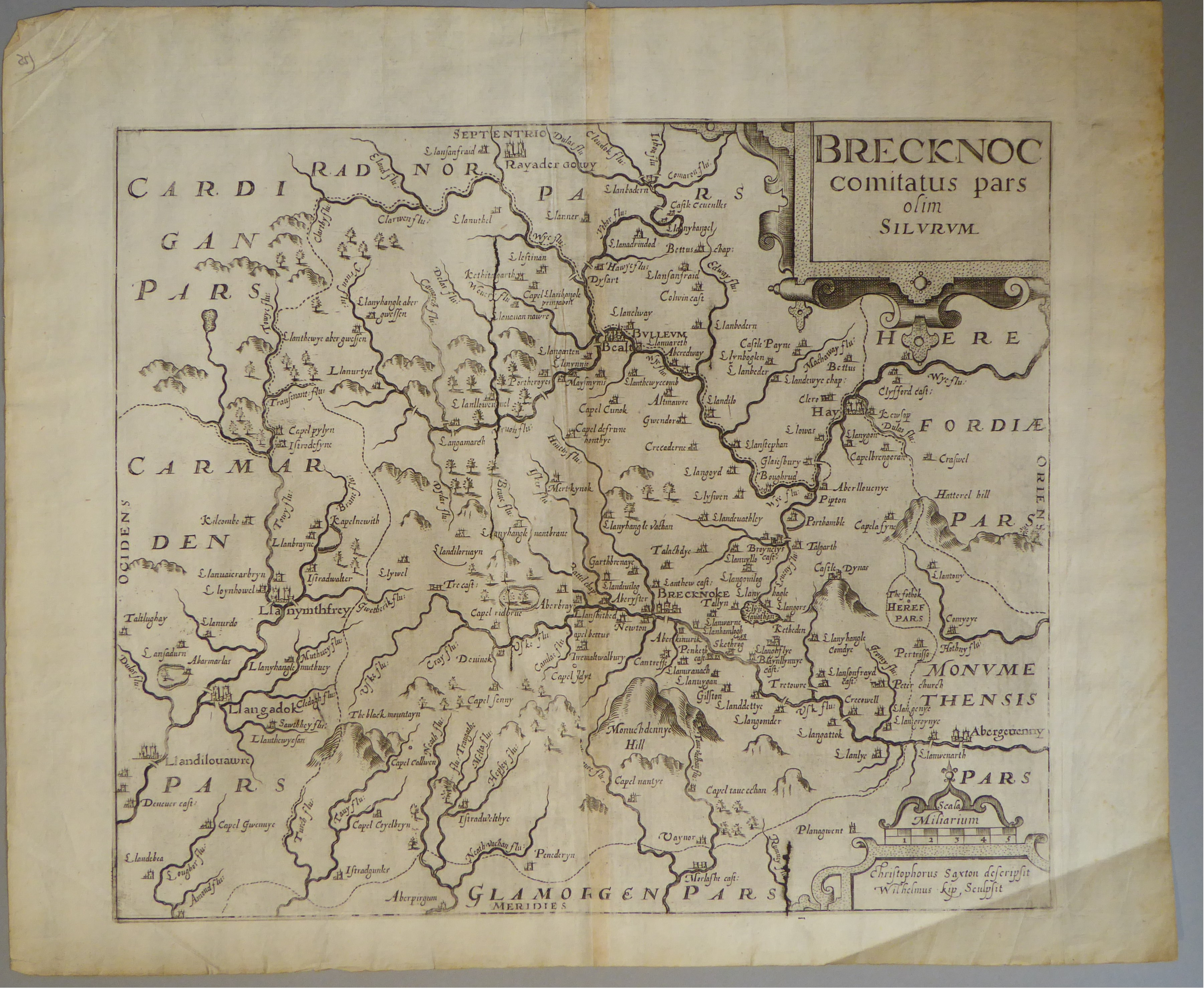 Lot 11 - A C17th Black & White copper engraved map of Brecknoc by William Kip c1610