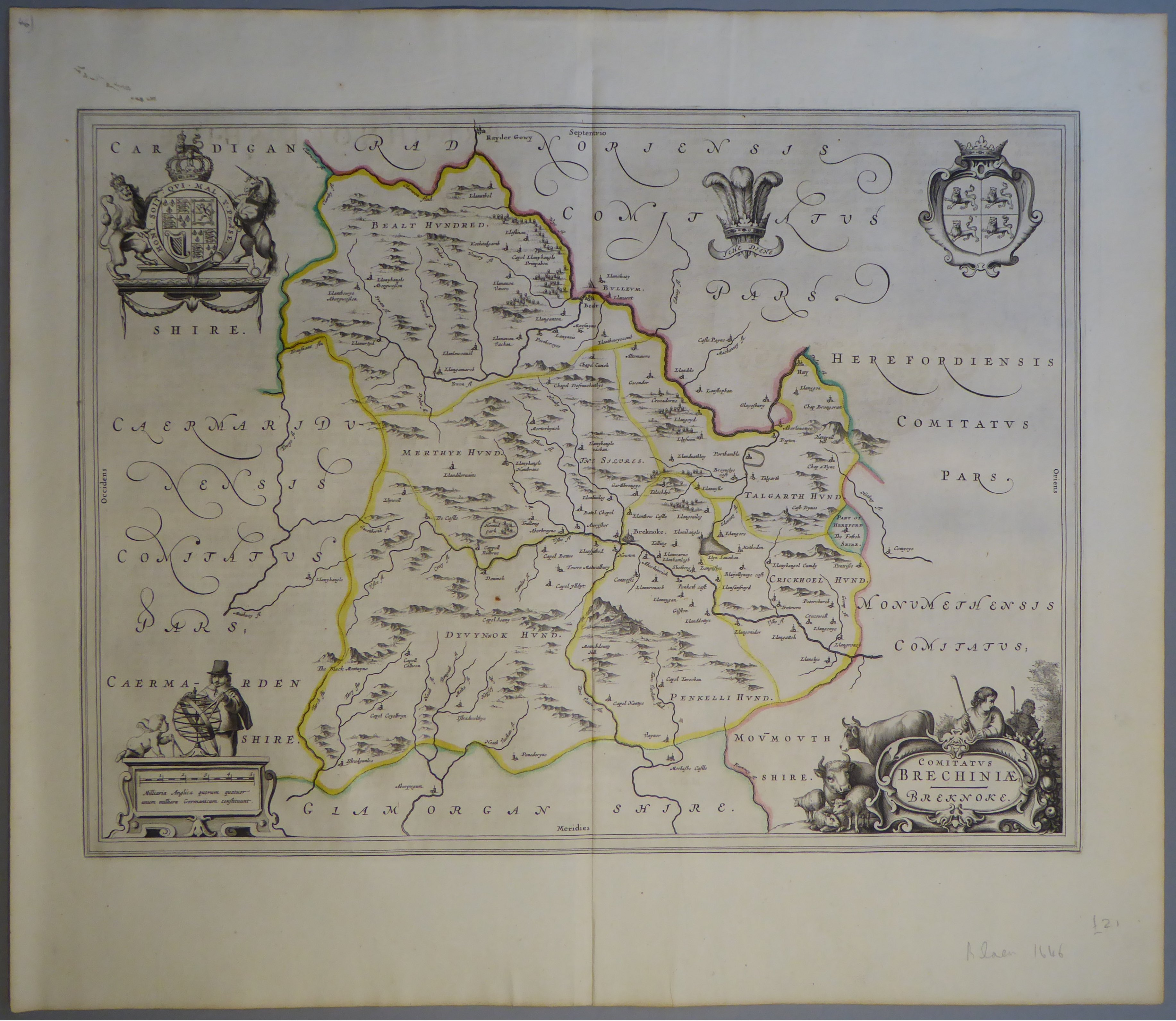 Lot 52 - A C17th hand coloured copper engraved map of Brecon by William Blaeu, c1645
