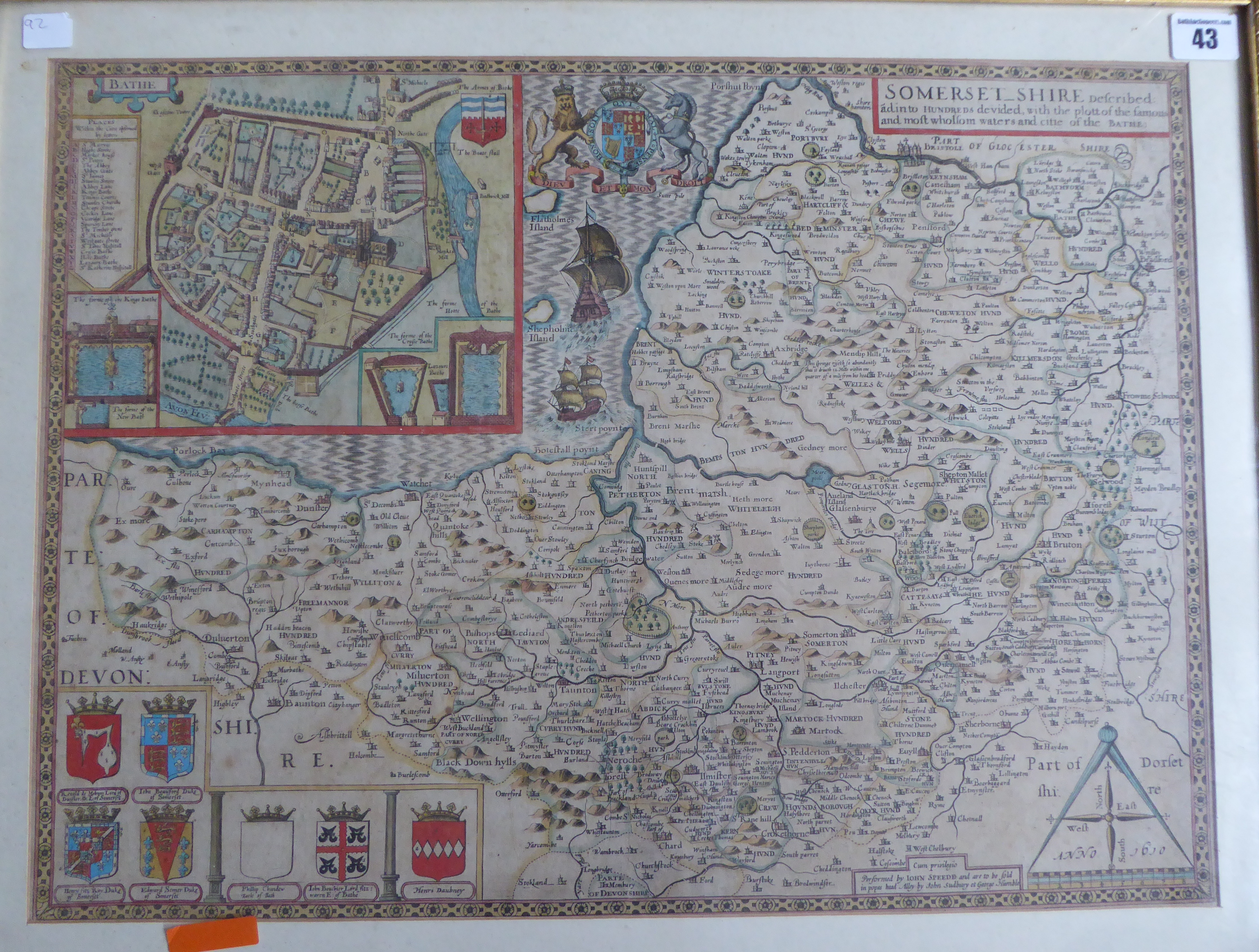 Lot 43 - A C17th hand coloured copper engraved map of Somerset c1629 by John Speed