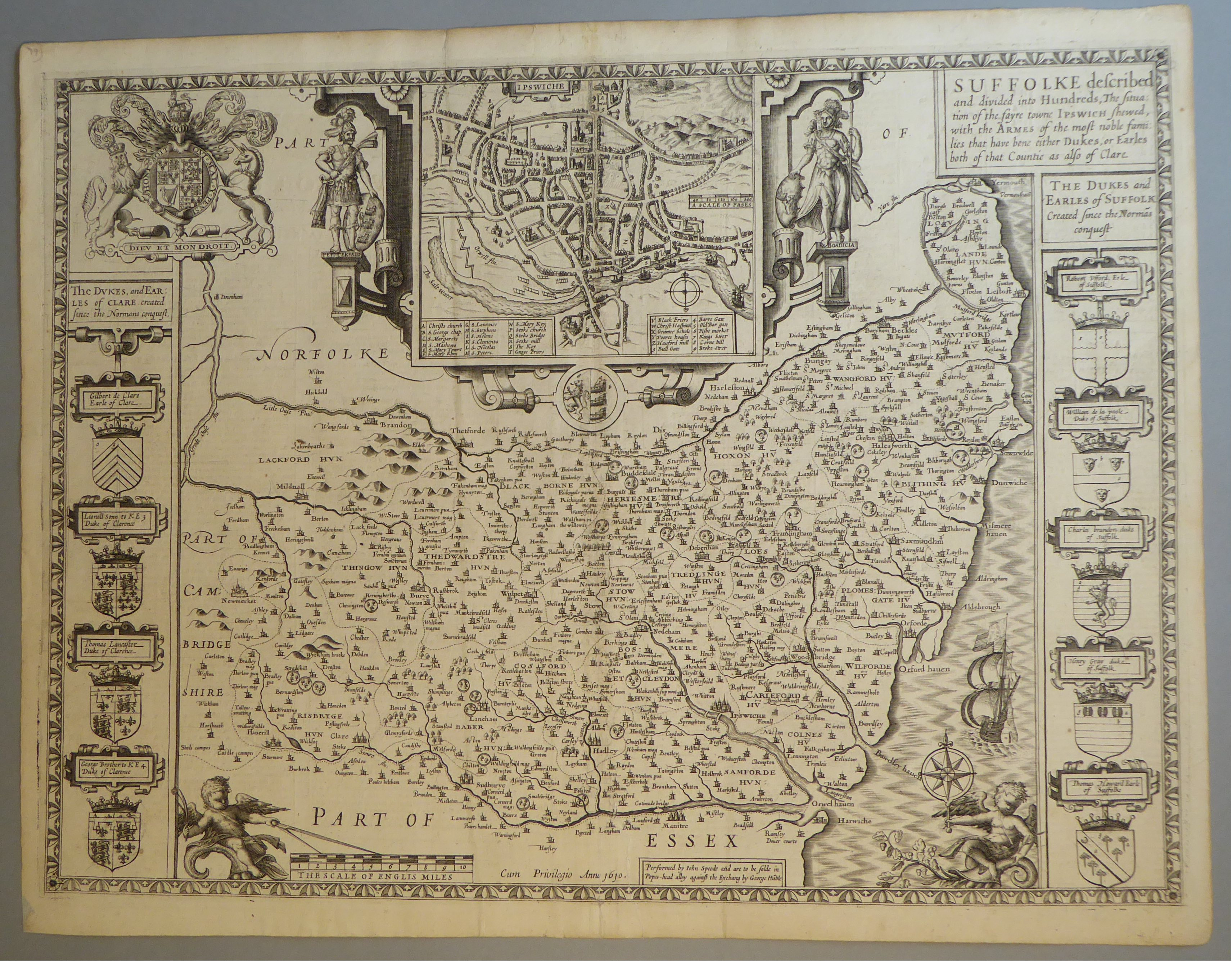 Lot 34 - A C17th Black & White copper engraved map of Suffolk by John Speed, c1612