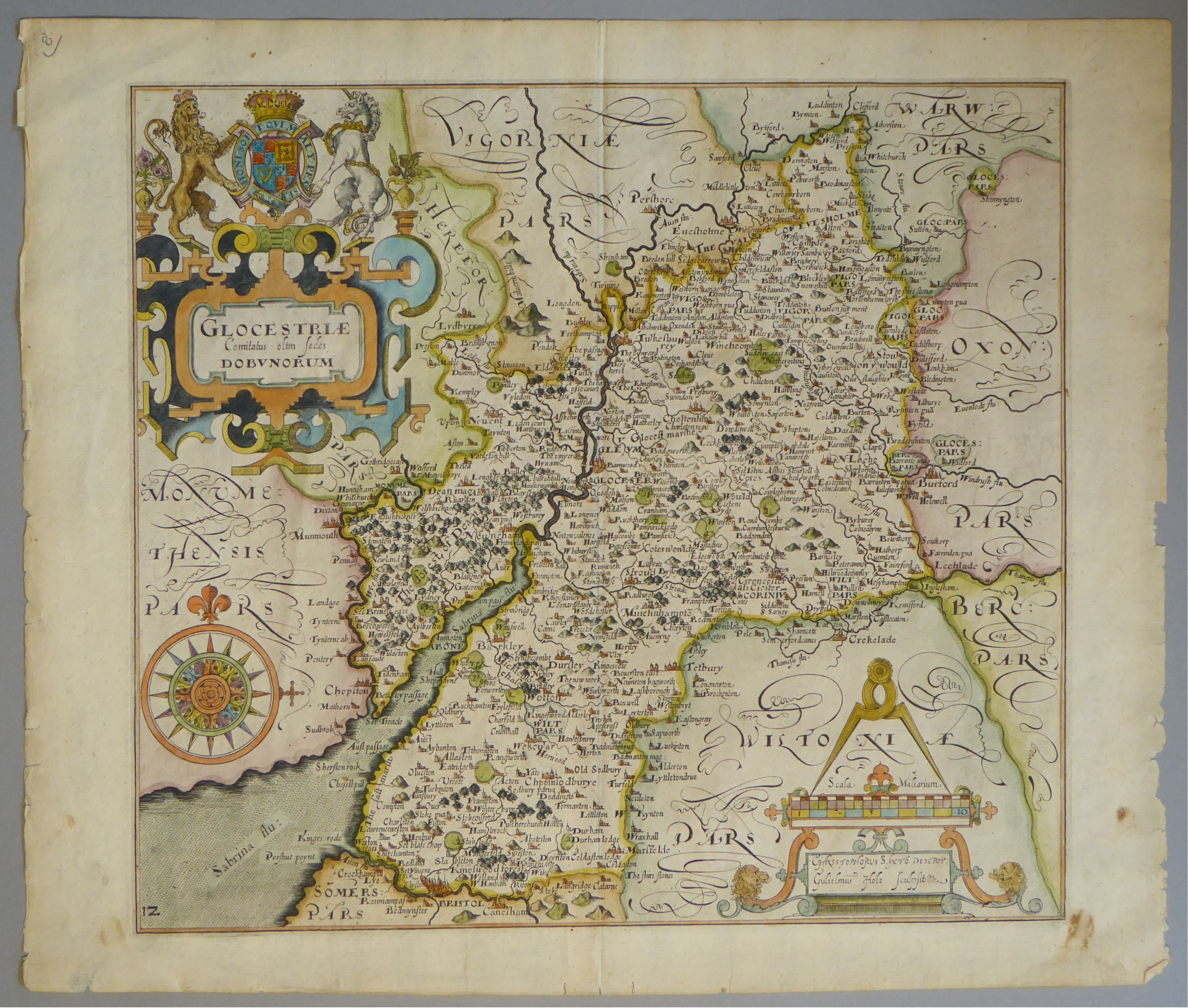 Lot 49 - A C17th hand coloured copper engraved map of Gloucestershire by William Hole c1637