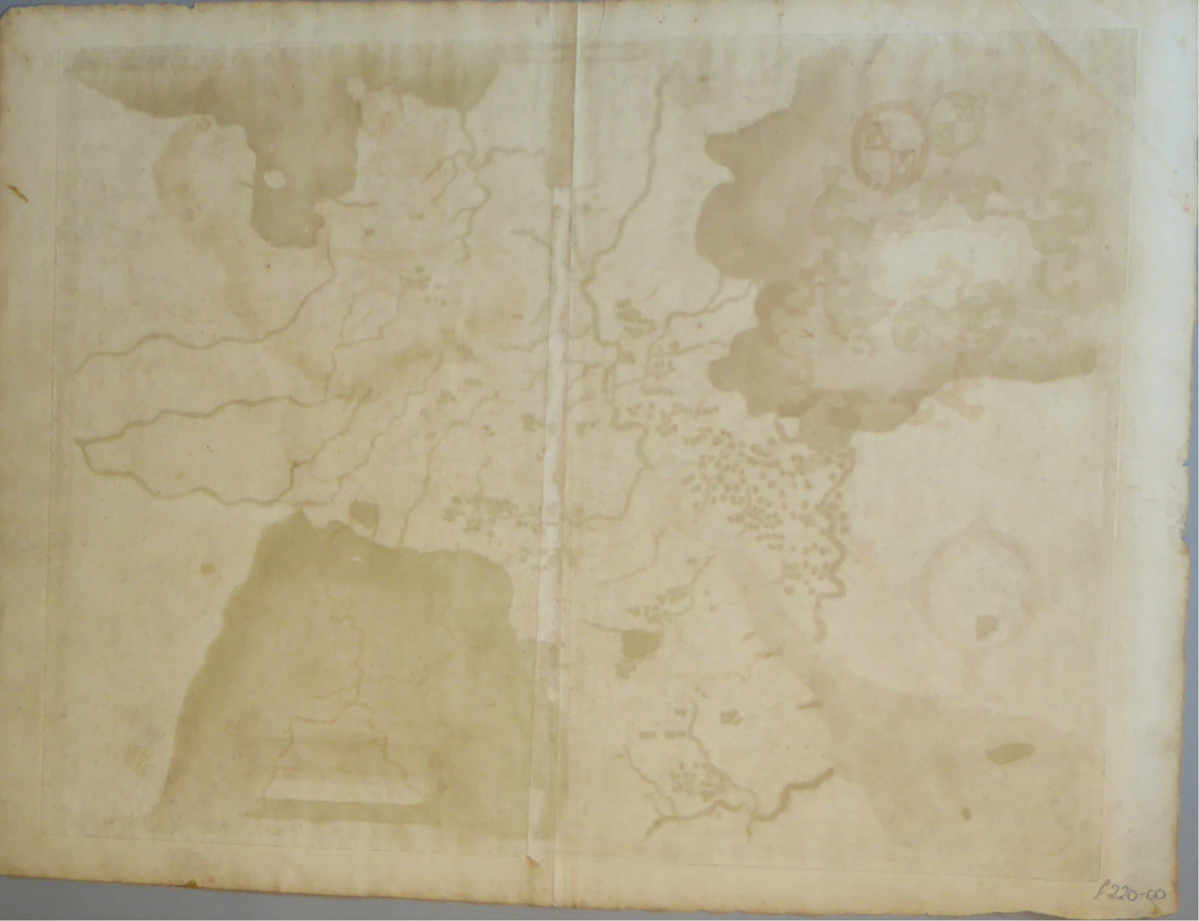 Lot 4 - A C16th hand coloured copper engraved map of Gloucestershire by Christopher Saxton c1579
