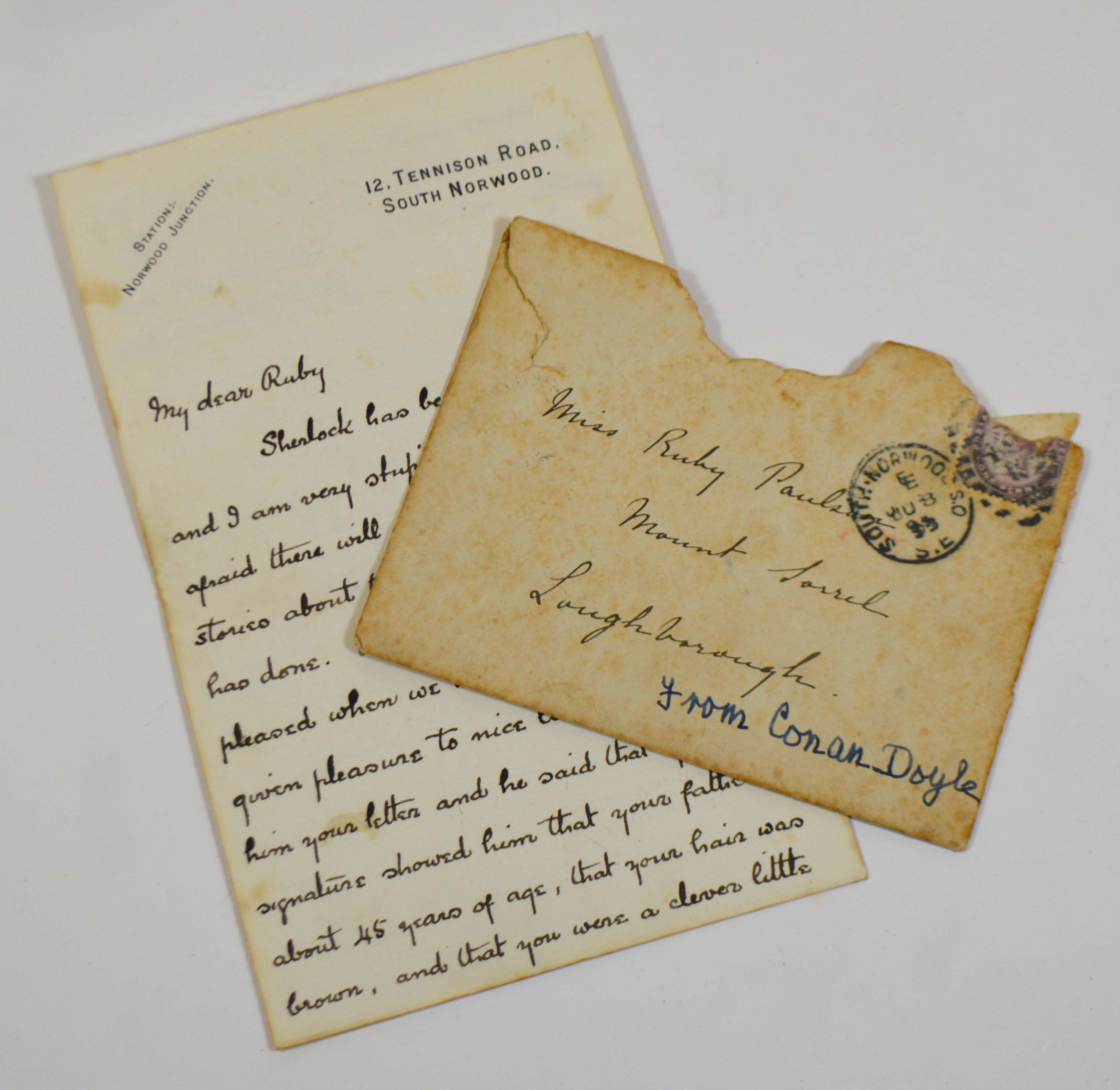 Lot 2248 - Doyle, Arthur Conan. A fine autographed letter signed to Ruby Paulson, responding to her query