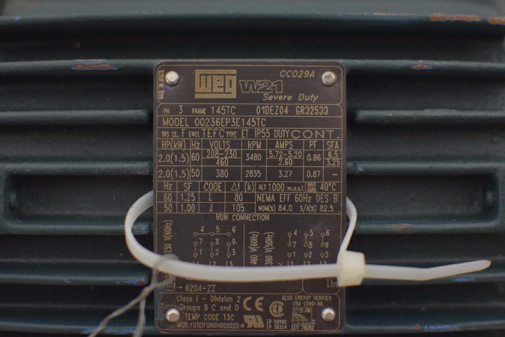 WEG W21 Severe Duty 2HP Motor - Image 4 of 5