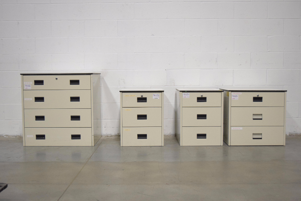 Lot 50 - Lot of (4) Stationary Filing Cabinets