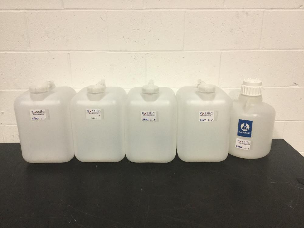 Lot of (5) Large Plastic Lab Bottles