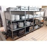 Steel Framed Four Stainless Steel Shelf Rack. Please note Contents not included.