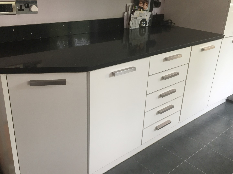1 x rwk einbaukuchen contemporary white gloss fitted for Quartz kitchen platform