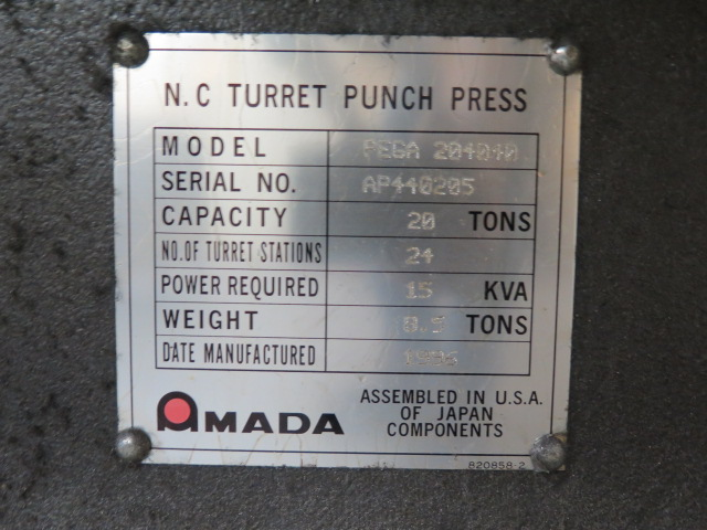 1996 Amada PEGA244 mdl. PEGA204040 20-Ton CNC Turret Punch Press s/n AP440205 w/ Amada Amadan-O4P- - Image 10 of 10