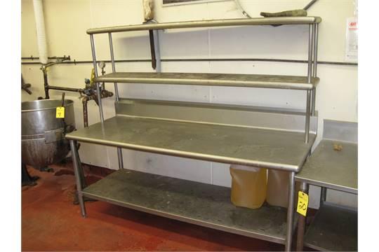 stainless steel prep table w backsplash 2 shelves 5 39. Black Bedroom Furniture Sets. Home Design Ideas