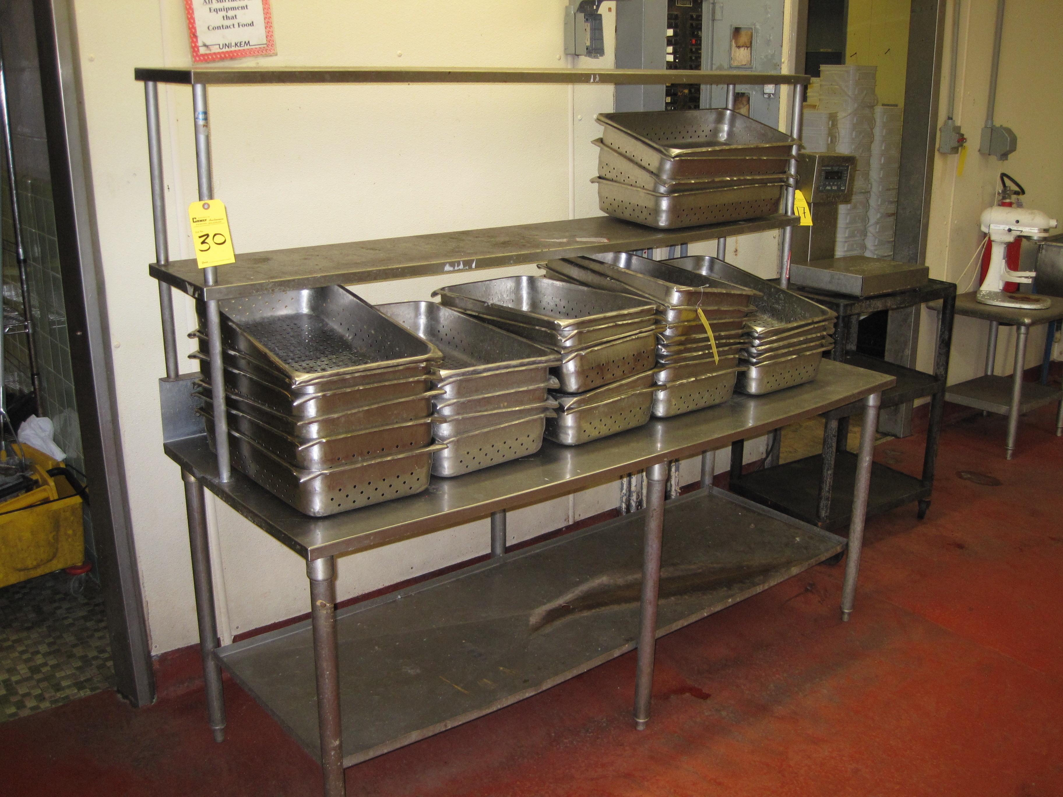 stainless steel prep table w backsplash 2 shelves 6 39. Black Bedroom Furniture Sets. Home Design Ideas