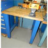 """LOT/ SHOP TABLE WITH 4"""" BENCH VISE"""
