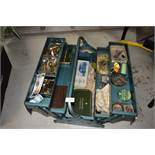 A metal tool box containing vintage fishing tackle, with some interesting pieces worth a look