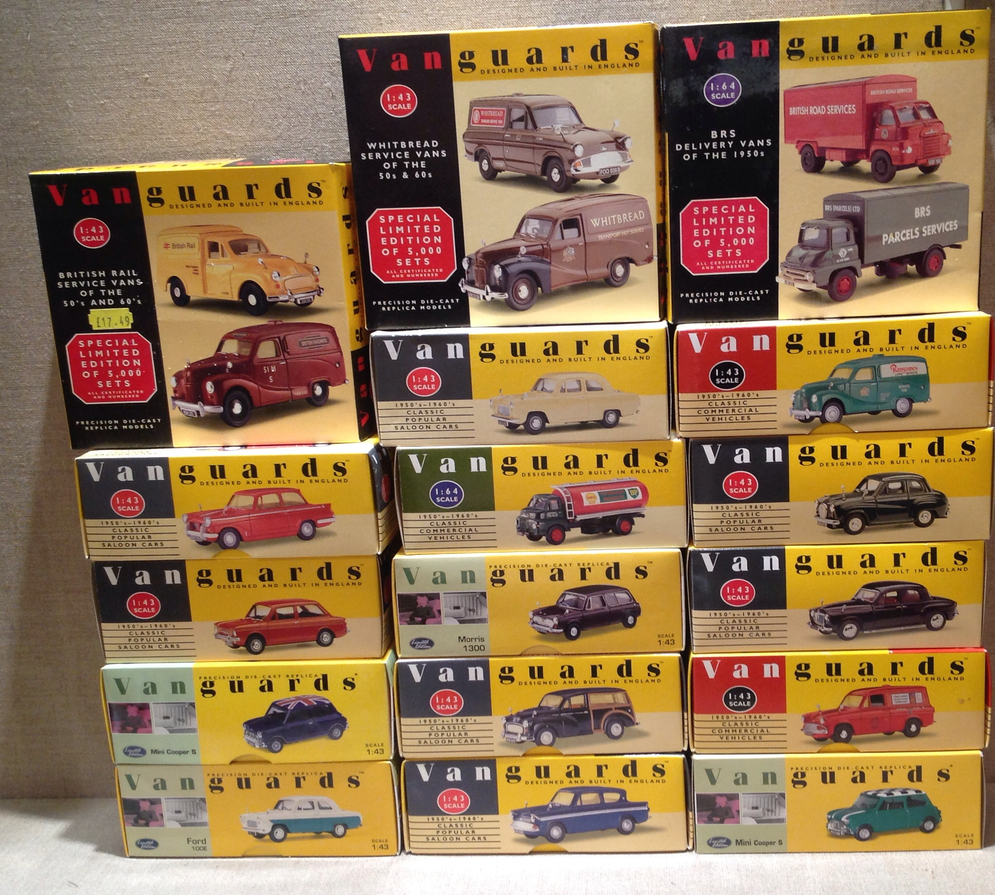 A 20TH CENTURY COLLECTION OF SEVENTEEN VANGUARDS MODEL CARS AND VANS ...