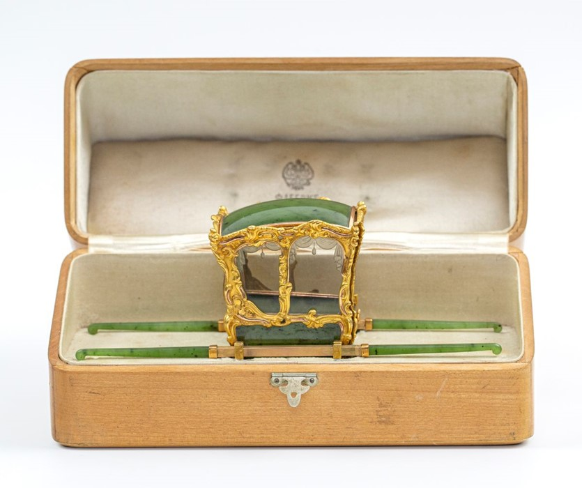 Please note:- Fabergé nephrite, rock crystal, mother-of-pearl and vari-colour gold miniature - Image 66 of 74