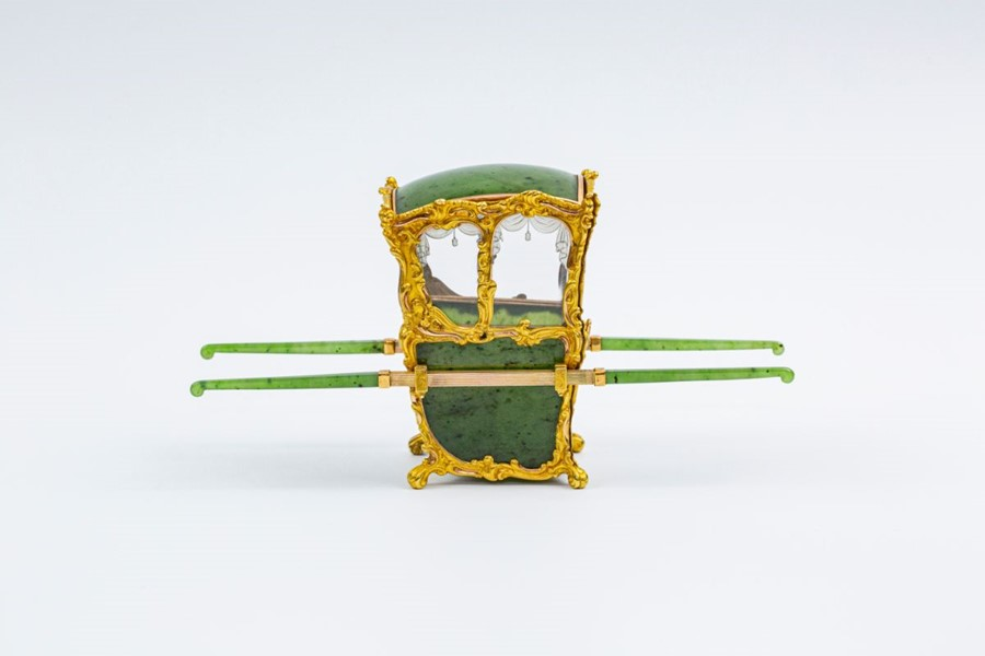 Please note:- Fabergé nephrite, rock crystal, mother-of-pearl and vari-colour gold miniature - Image 45 of 74
