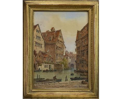 ANDRI PINOLI (ITALIAN, 19TH/20TH CENTURY), ULM, GERMANY watercolour on paper, signed and dated 1909 37cm x 26cm Framed and un
