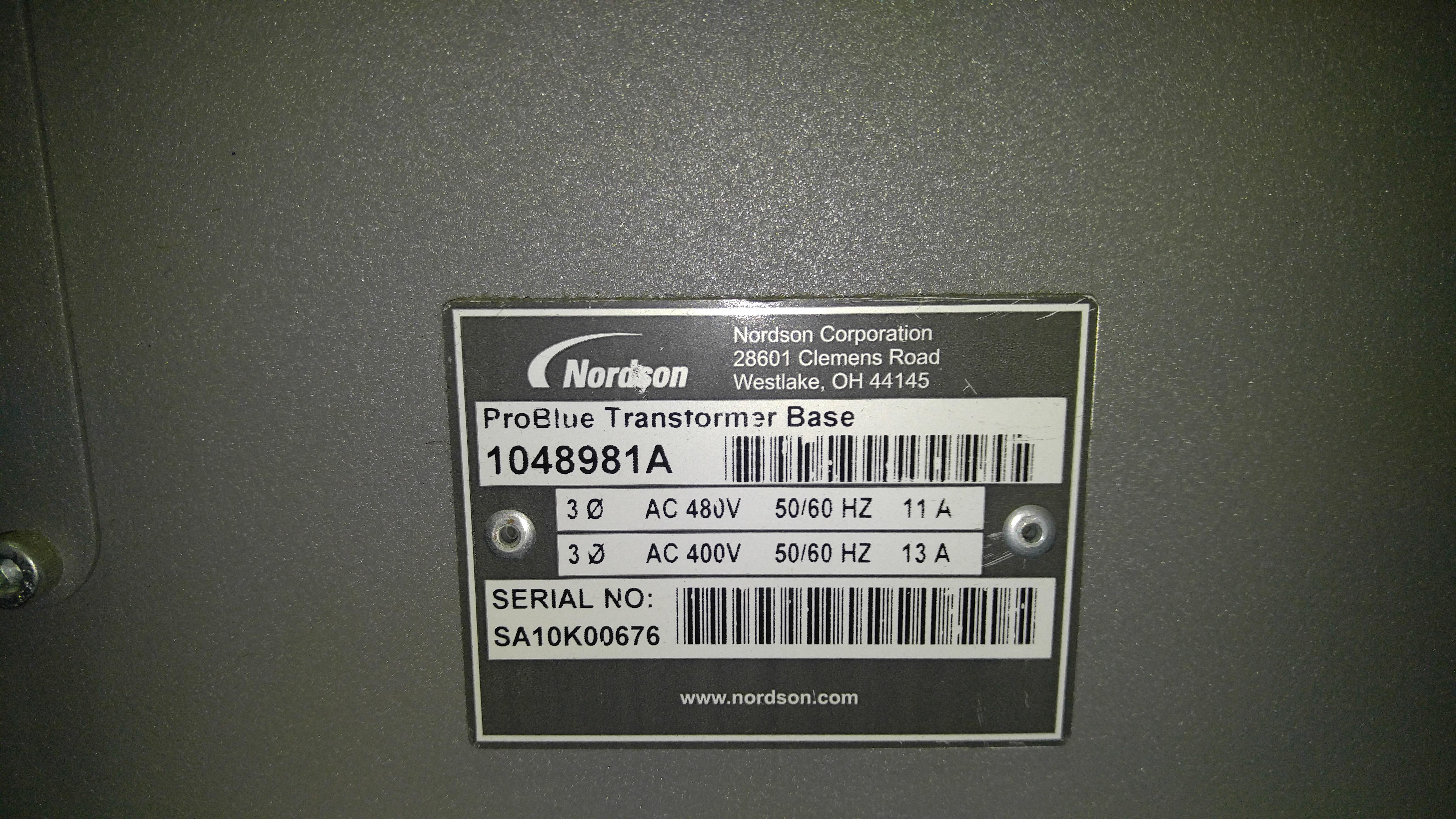 Lot 4A - Nordson Problue 15 Adhesive Melter Sn: SA10G02705 and Problue Transformer 1048981 Sn:SA10k60676,