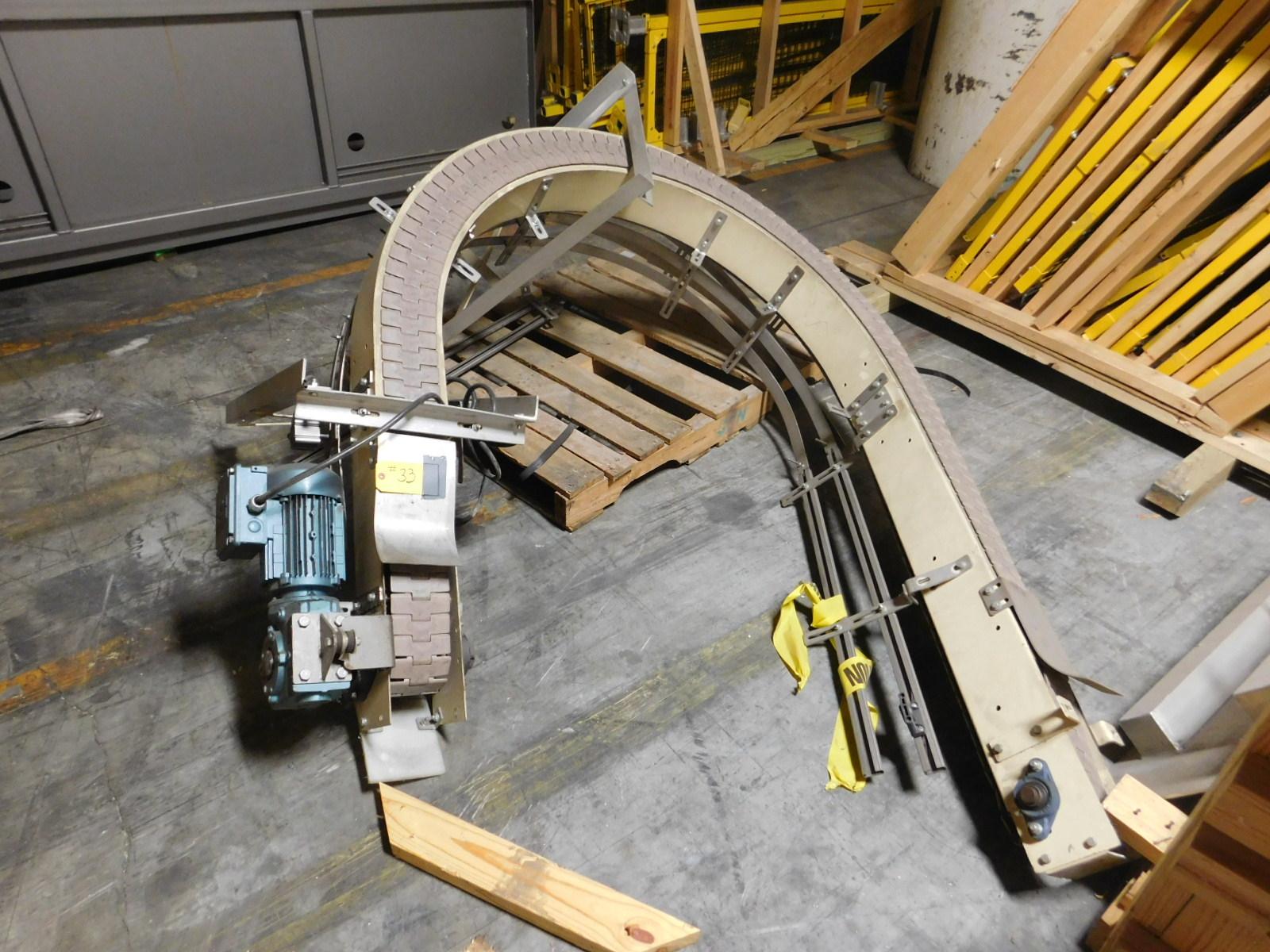 Lot 33 - Flex Turner conveyor Motorized conveyor,4'x 180 degree turn conveyor :equipment located at Clark