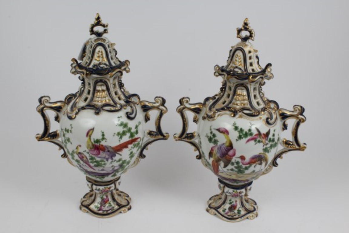 Lot 58 - Pair of late 19th century Sampson porcelain Chelsea / Derby-style vases and covers with polychrome