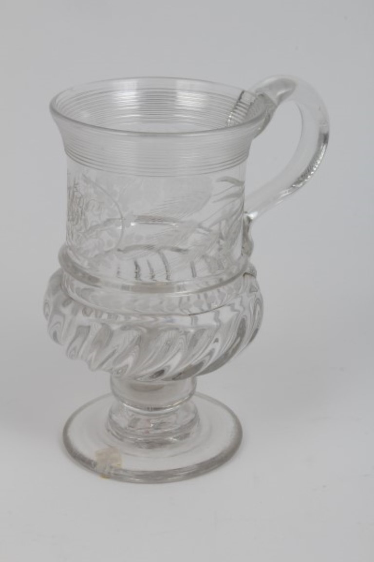 Lot 9 - Victorian presentation glass mug with trailed rim, engraved monogram and date 1845 within wreath