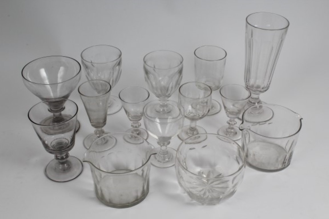 Lot 22 - Pair Victorian slice cut rummers and lot Georgian and Victorian glassware including rinsers