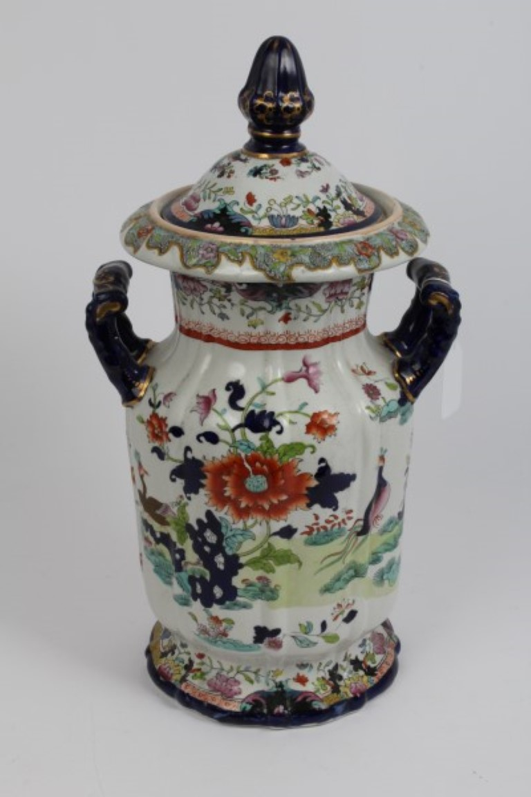 Lot 35 - Victorian Masons Ironstone patent china vase and cover with twin handles and fluted decoration