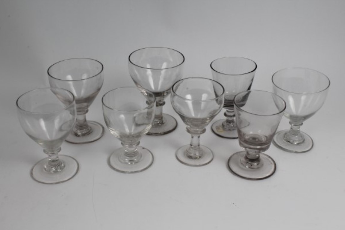 Lot 25 - Eight Victorian glass rummers CONDITION REPORT One has small flea bite to rim, some have