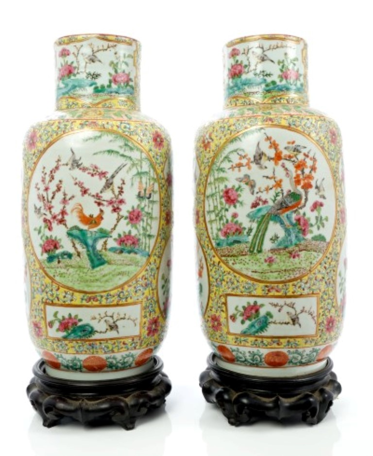 Lot 48 - Pair late 19th century Chinese export porcelain vases with polychrome painted bird and floral