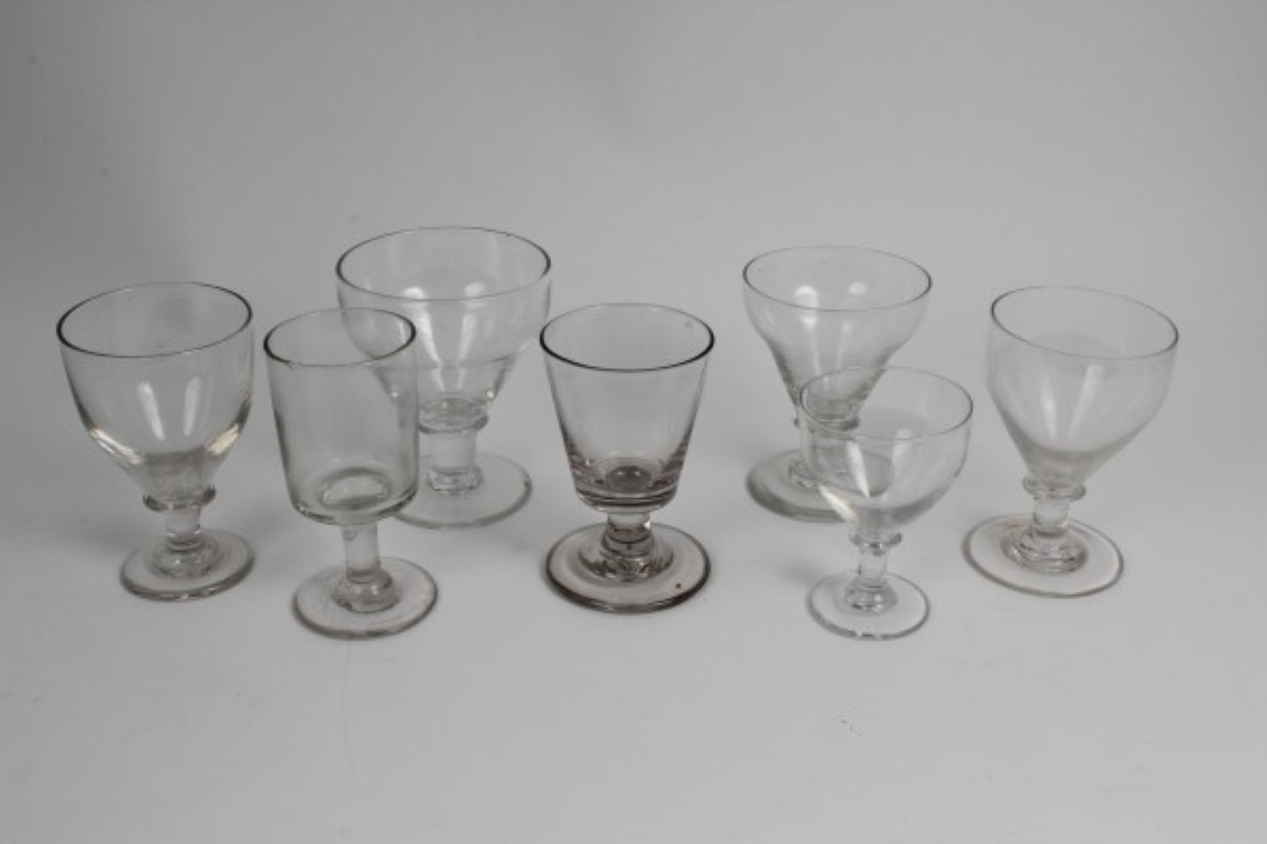 Lot 24 - Seven Victorian glass rummers CONDITION REPORT No chips on any of the glasses, some scratching to