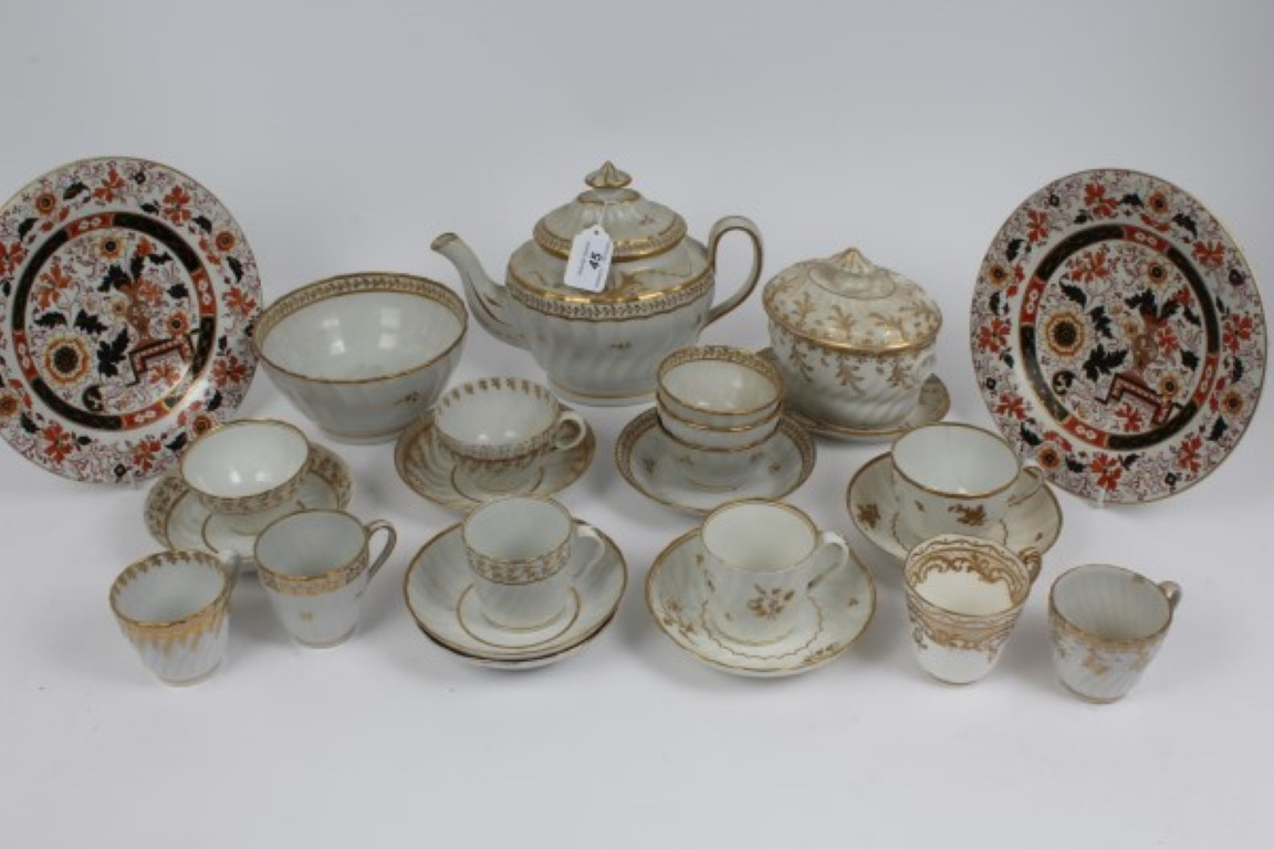 Lot 45 - Lot of late 18th century Worcester and other teaware with gilt on white decoration including teapot