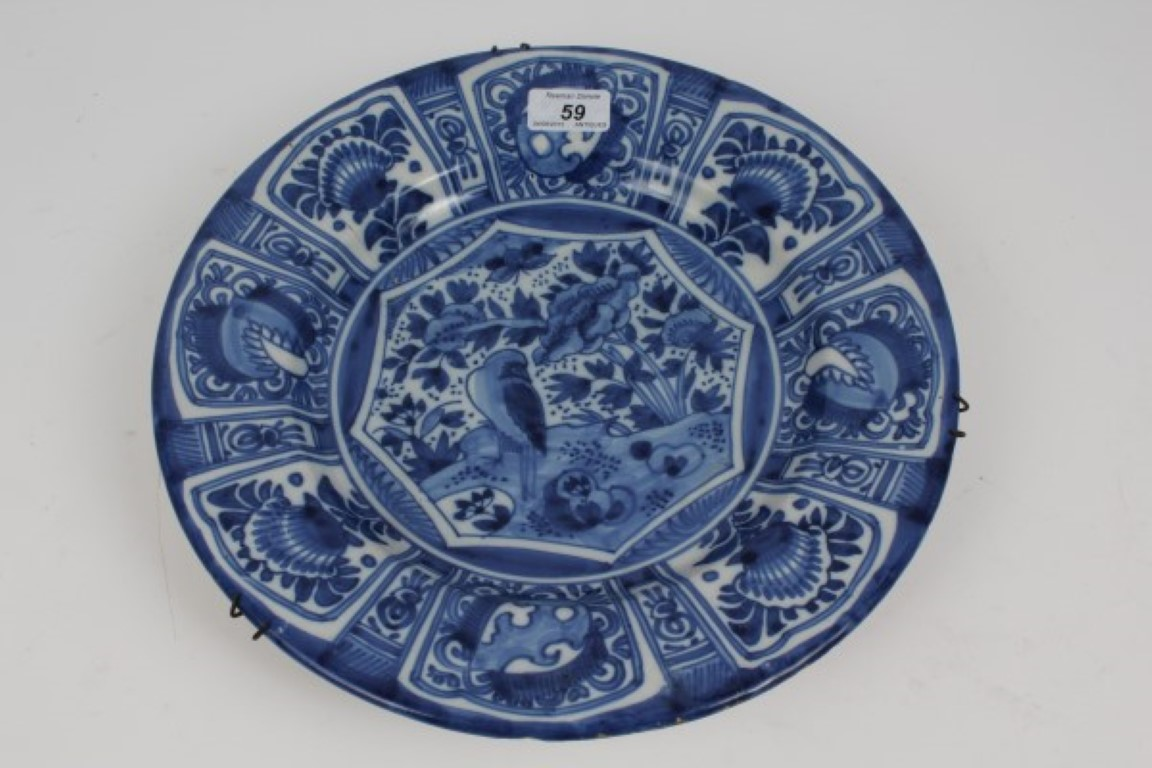 Lot 59 - 18th / 19th century Dutch Delft blue and white charger with Chinese Kraak-style decoration of bird