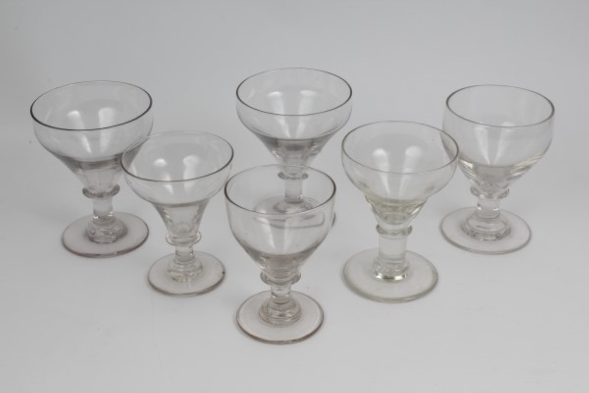Lot 13 - Six Victorian plain glass rummers with knopped stems on splayed foot