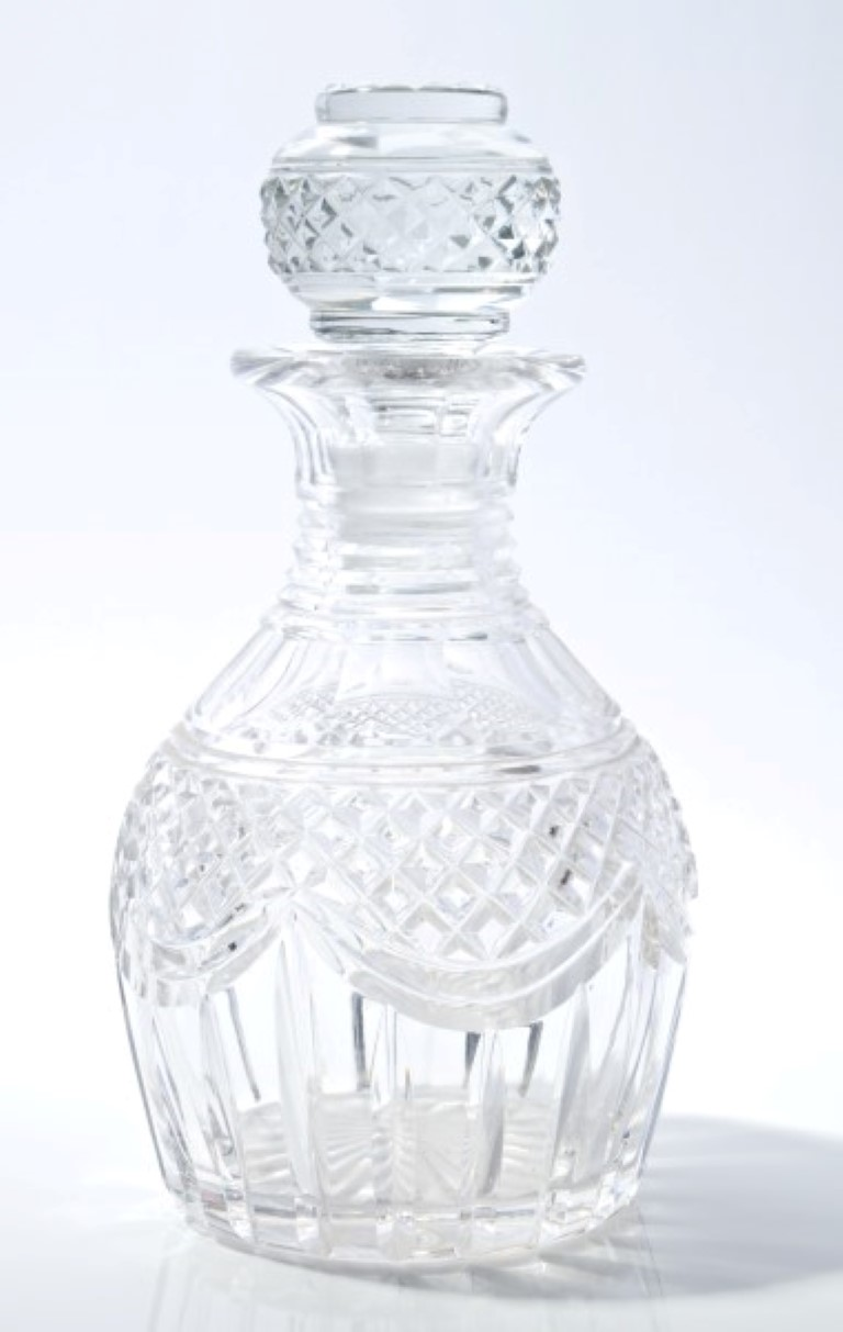 Lot 26 - George IV cut glass decanter with hobnail and slice cut decoration and mallet-shaped stopper,