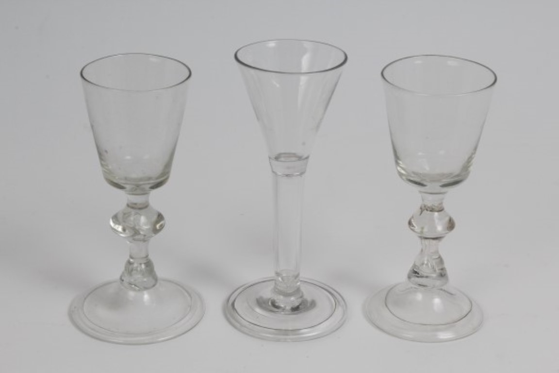 Lot 21 - Georgian cordial glass with trumpet bowl, hollow stem and folded foot, 13.