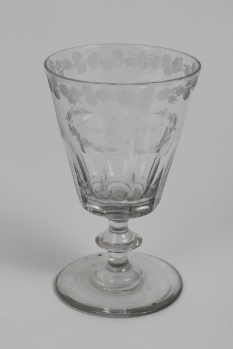 Lot 19 - Victorian cut glass rummer with engraved 'E. J.